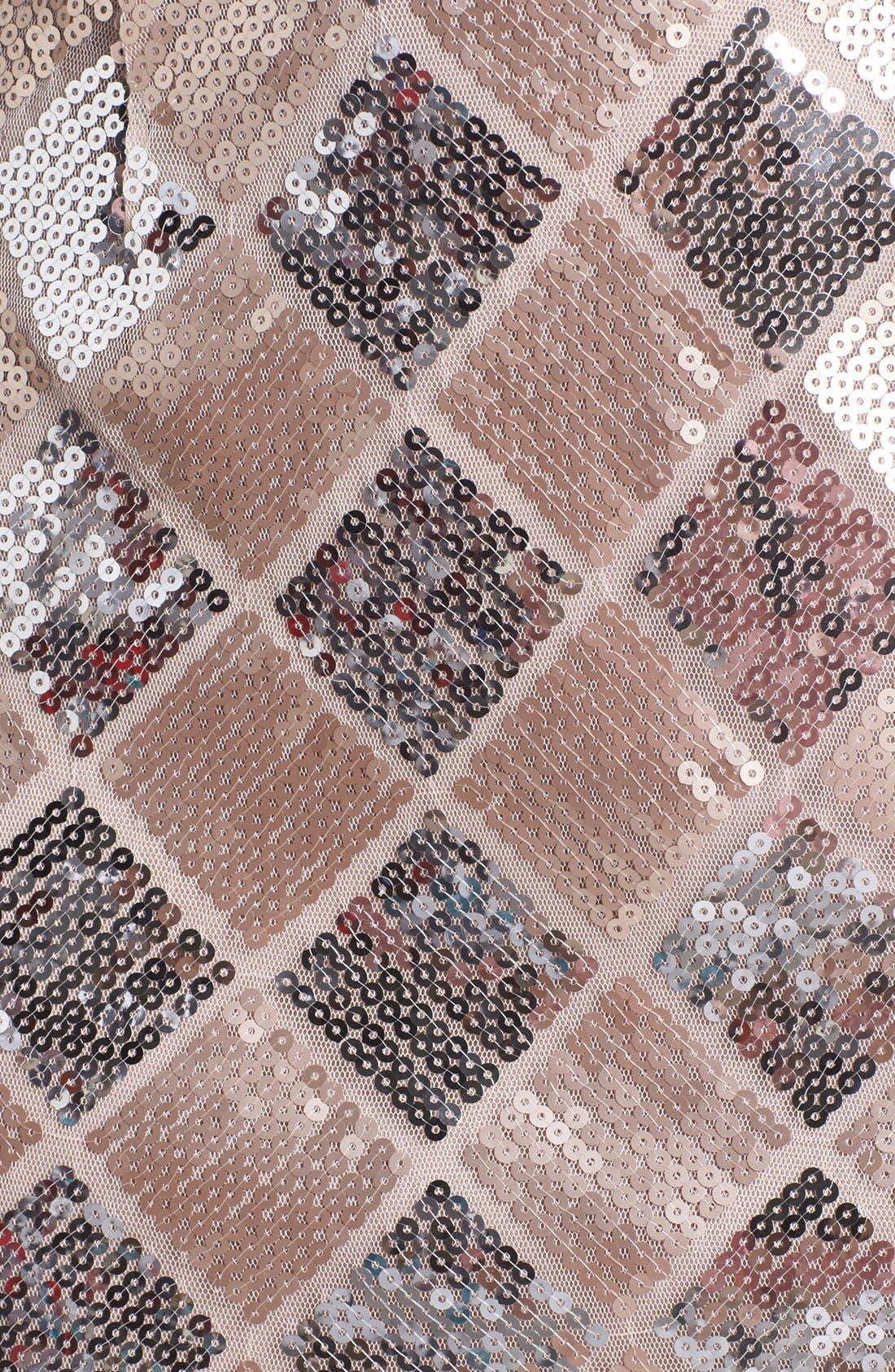 TRIXXI, Checkered Sequin Tube Dress, Alternate thumbnail 3, color, 660