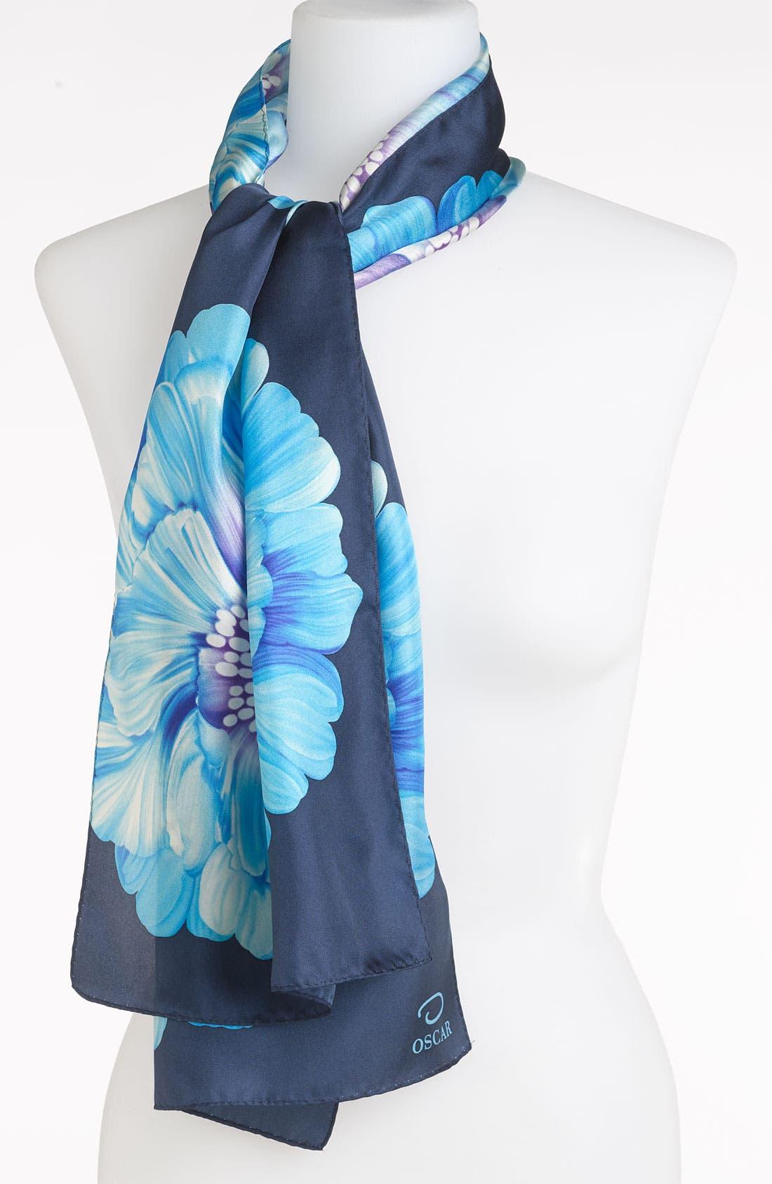 OSCAR DE LA RENTA O by Oscar de la Renta 'Big Bloom' Silk Scarf, Main, color, 400
