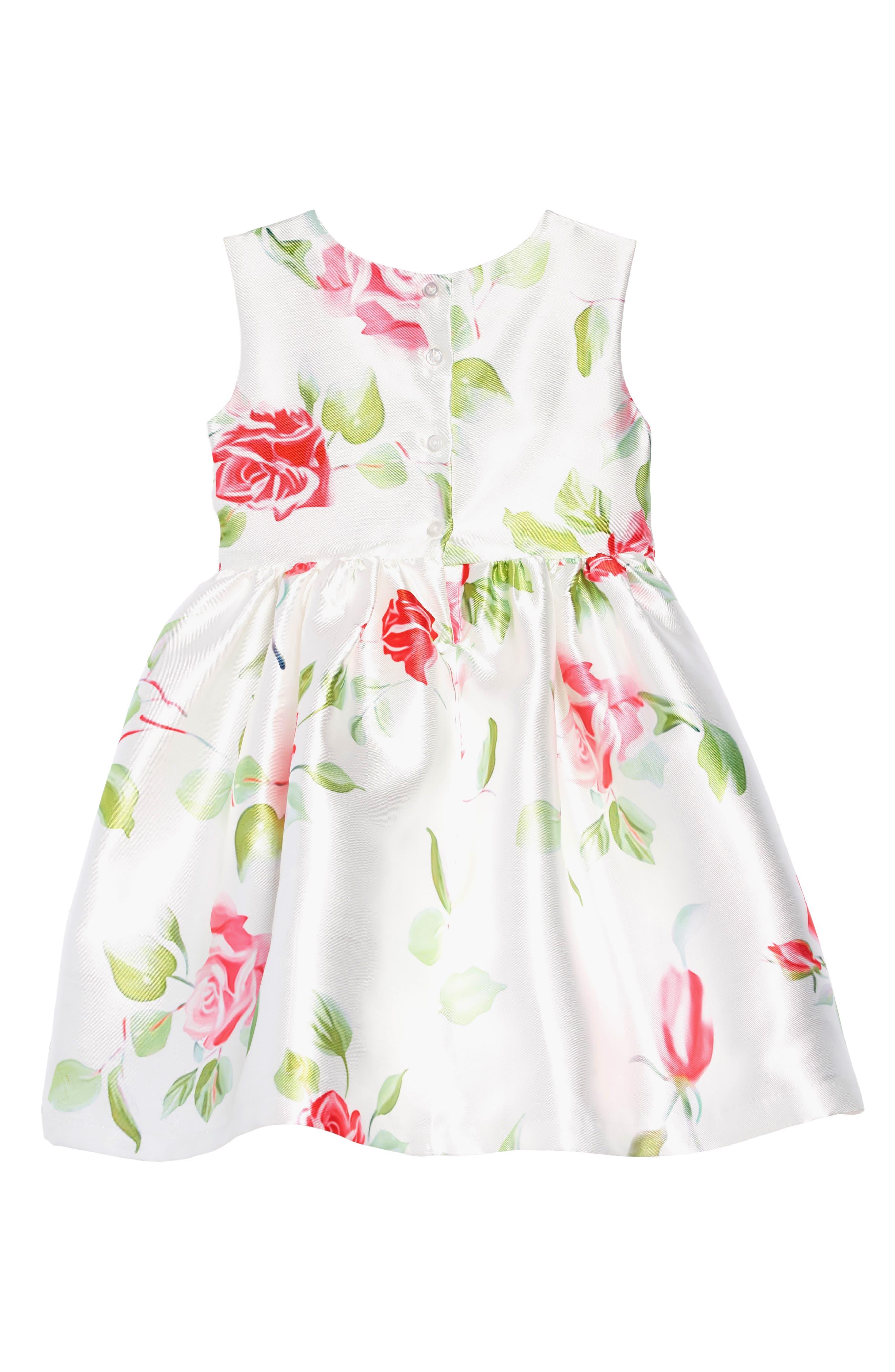 FRAIS, Rose Garden Fit & Flare Dress, Alternate thumbnail 2, color, WHITE / PINK