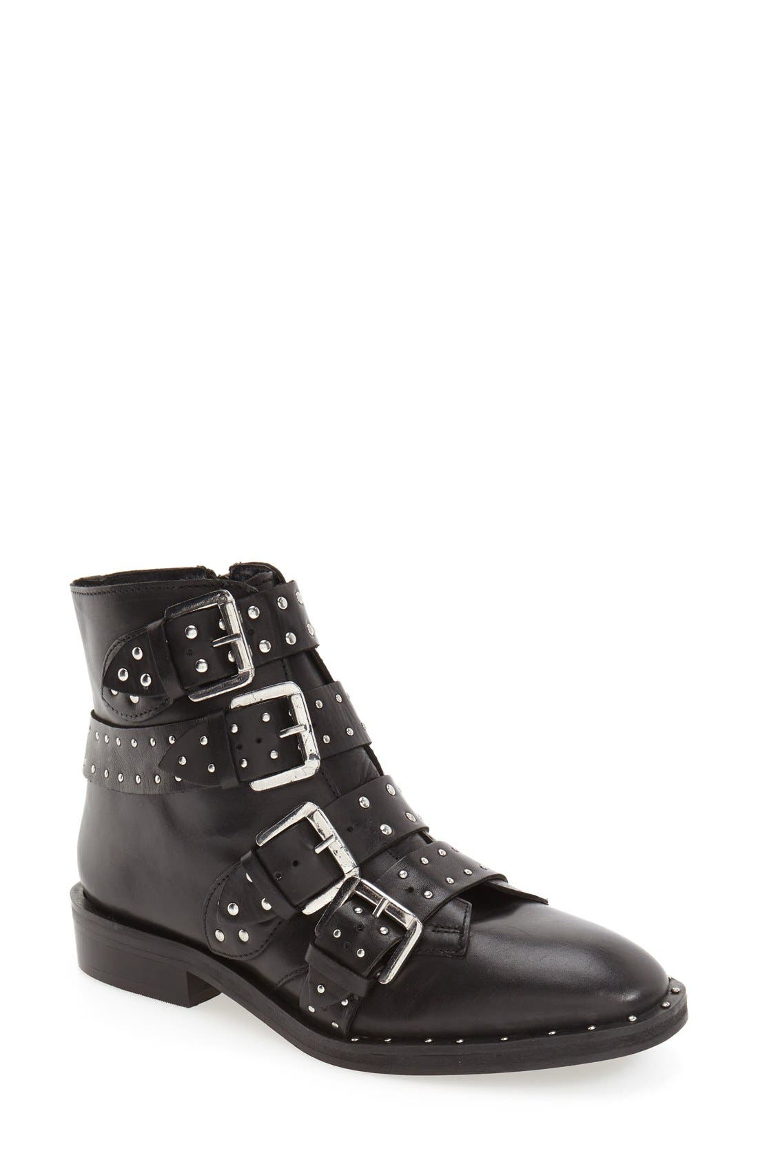 TOPSHOP, 'Amy' Studded Buckle Bootie, Main thumbnail 1, color, 001