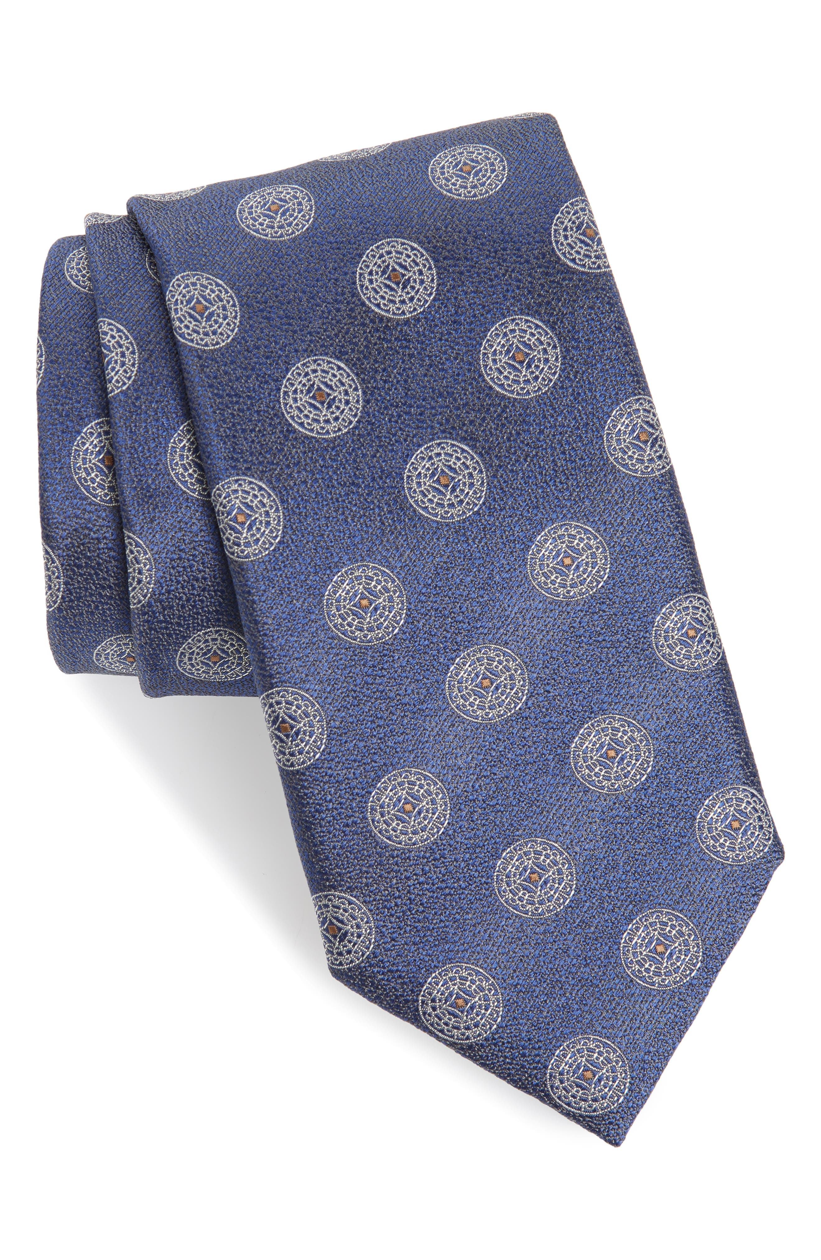 CANALI, Medallion Silk Tie, Main thumbnail 1, color, LIGHT BLUE
