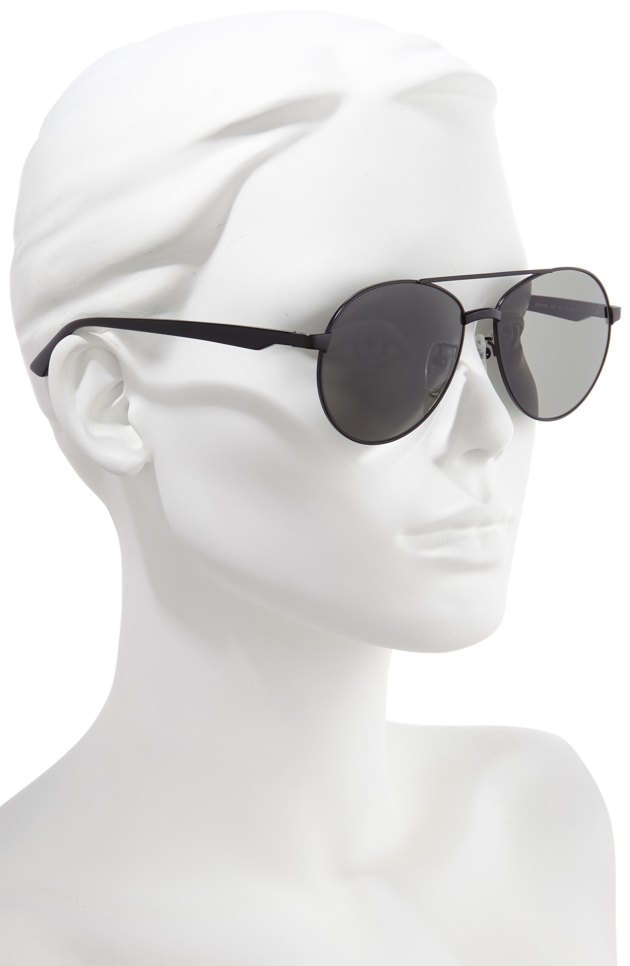 BALENCIAGA, 59mm Aviator Sunglasses, Alternate thumbnail 2, color, SEMI-MATTE BLACK/ GREY