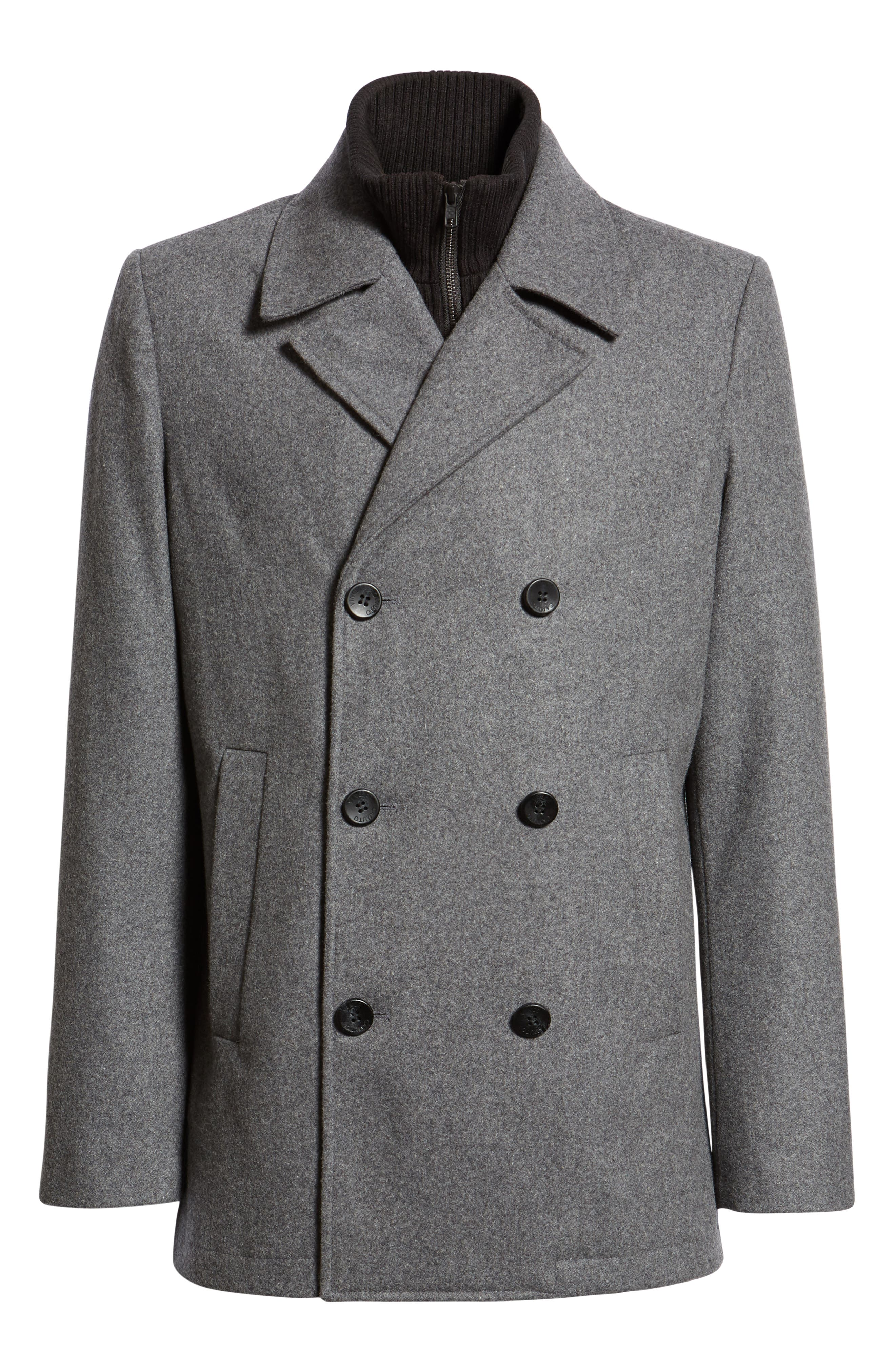 VINCE CAMUTO, Dock Peacoat, Alternate thumbnail 6, color, HEATHER GREY