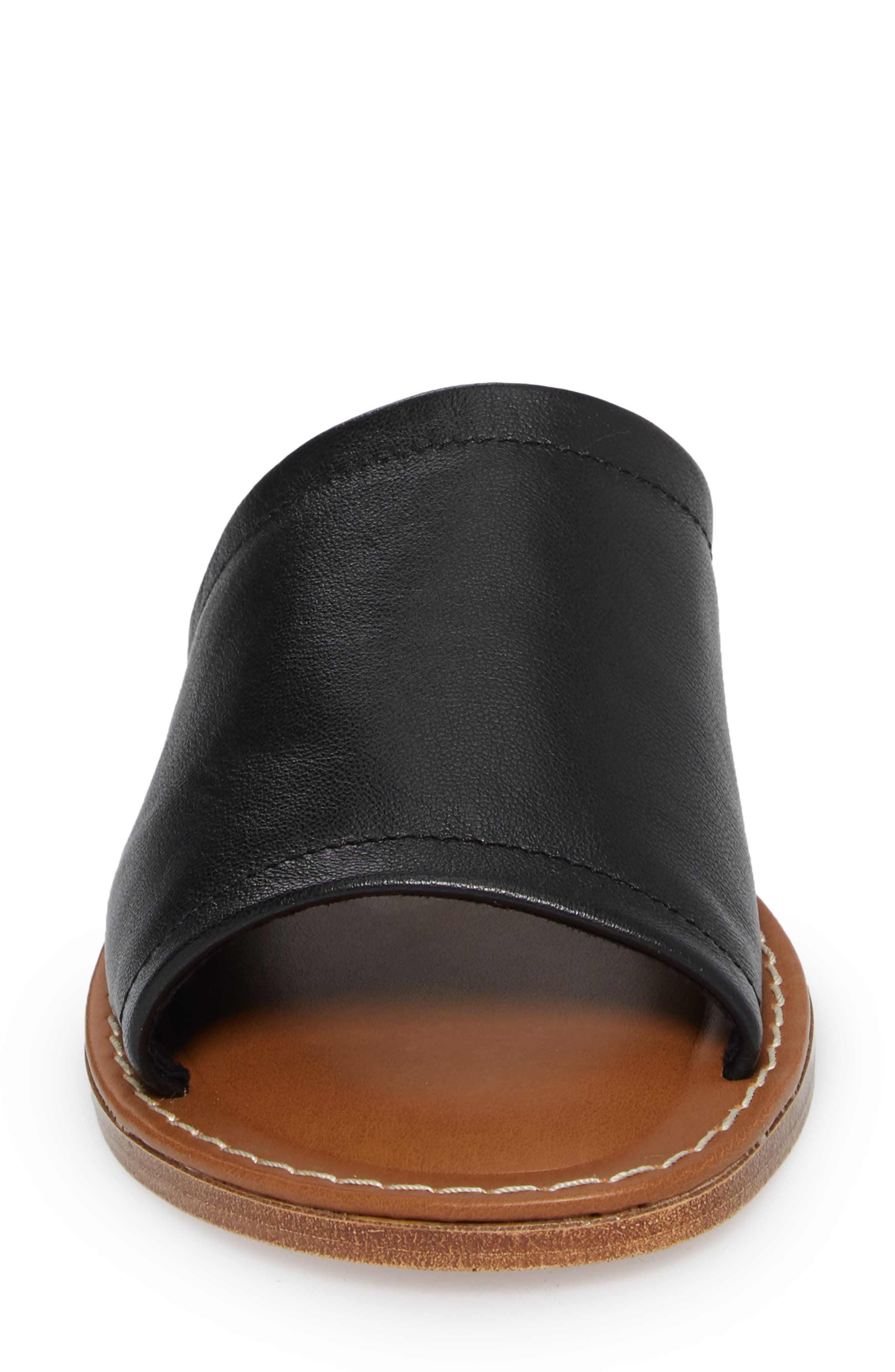 BELLA VITA, Ros Slide Sandal, Alternate thumbnail 4, color, BLACK LEATHER