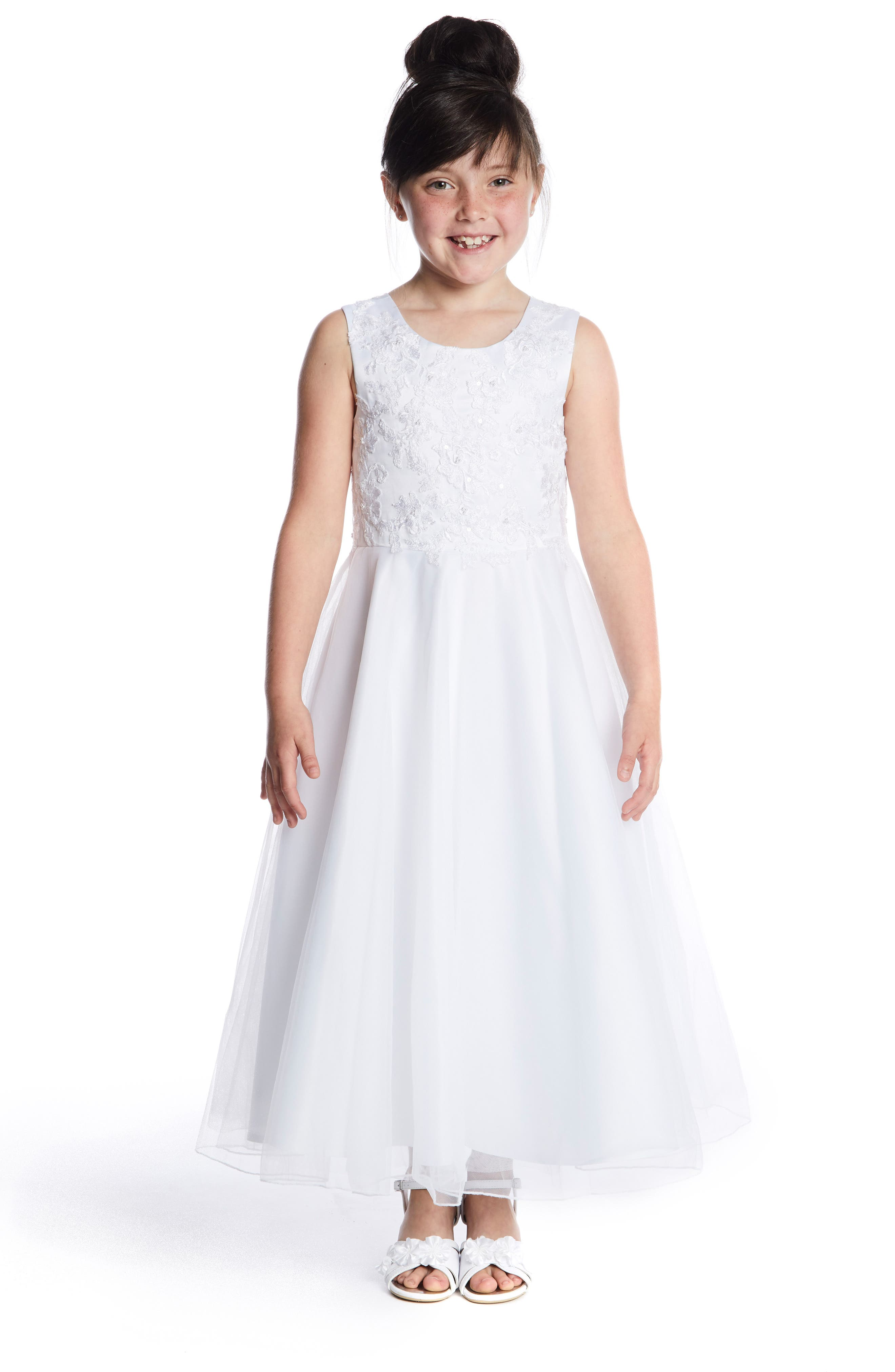 LAUREN MARIE, Embroidered Bodice Tulle Dress, Alternate thumbnail 2, color, WHITE