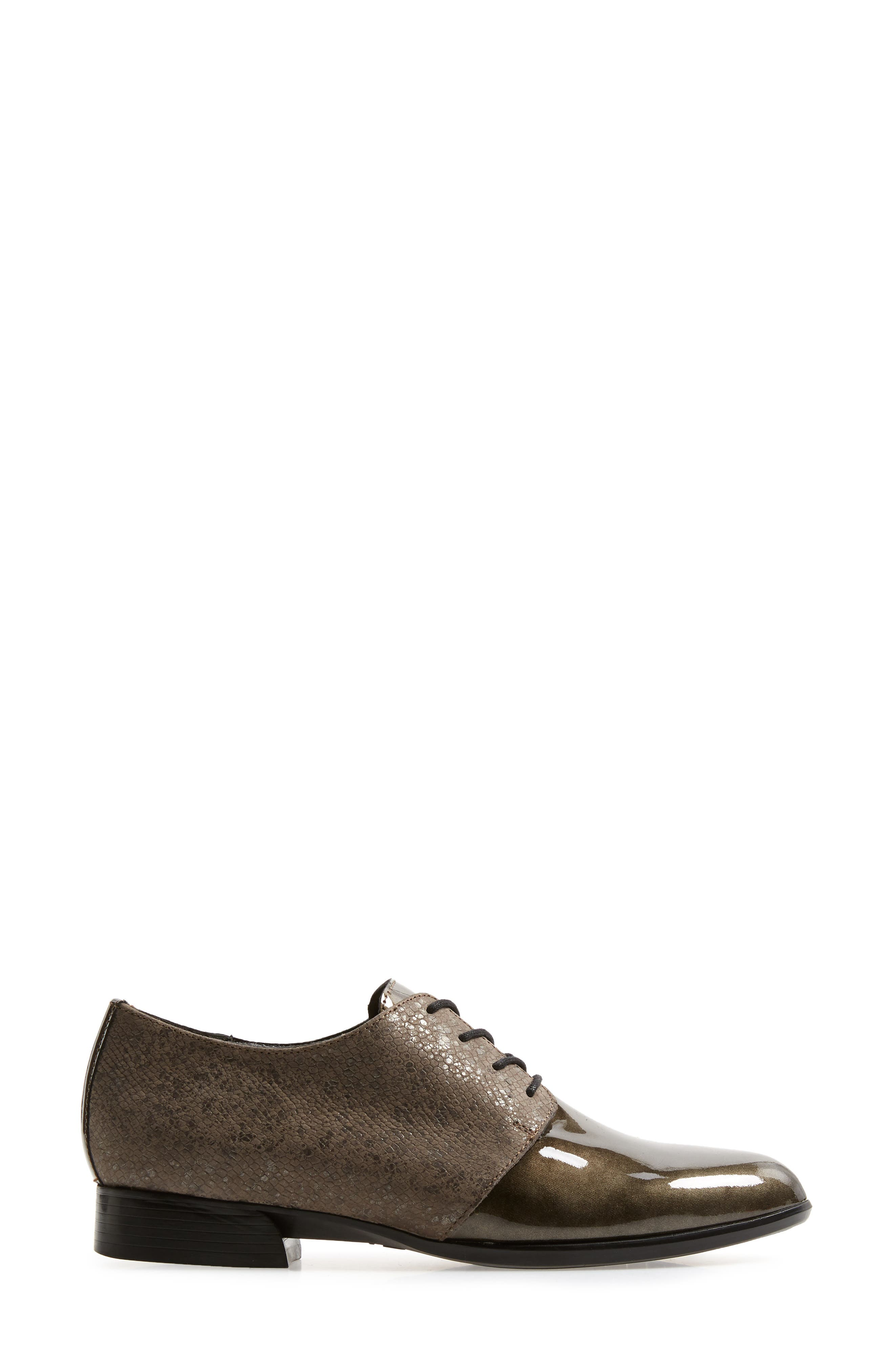 MUNRO, Markella Derby, Alternate thumbnail 3, color, GREY PATENT LEATHER
