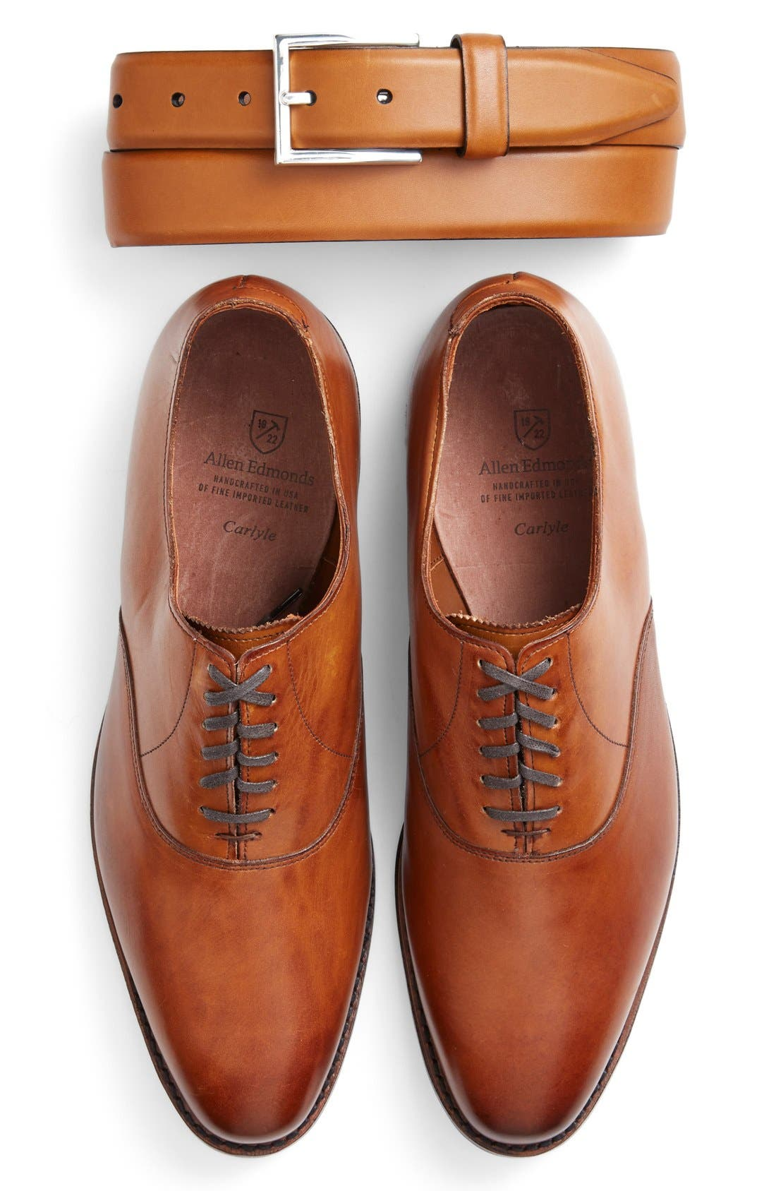ALLEN EDMONDS, Carlyle Plain Toe Oxford, Alternate thumbnail 5, color, WALNUT LEATHER