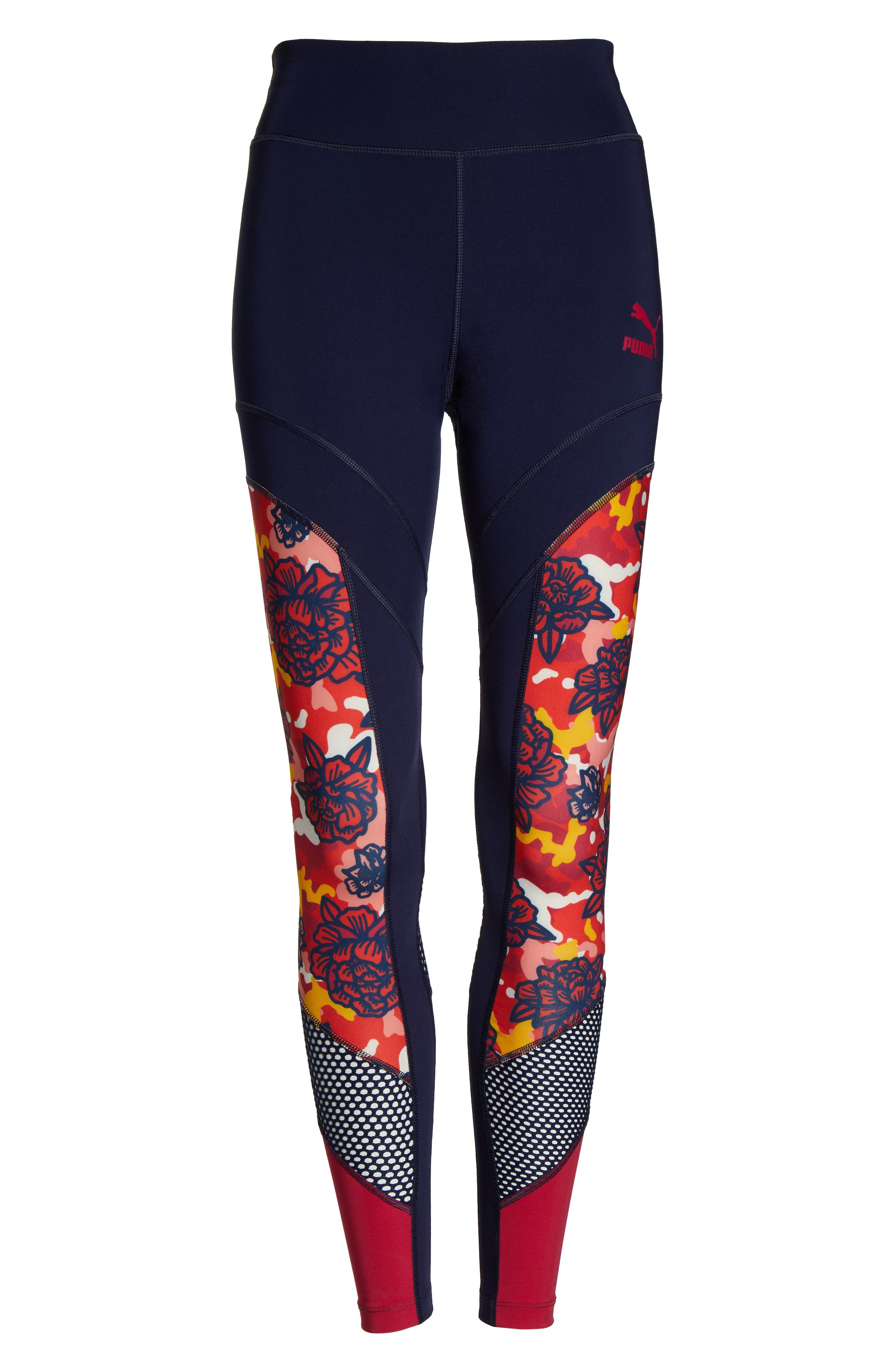 PUMA, Flourish Flourish XTG Leggings, Alternate thumbnail 7, color, PEACOAT-HIBISCUS MULTI
