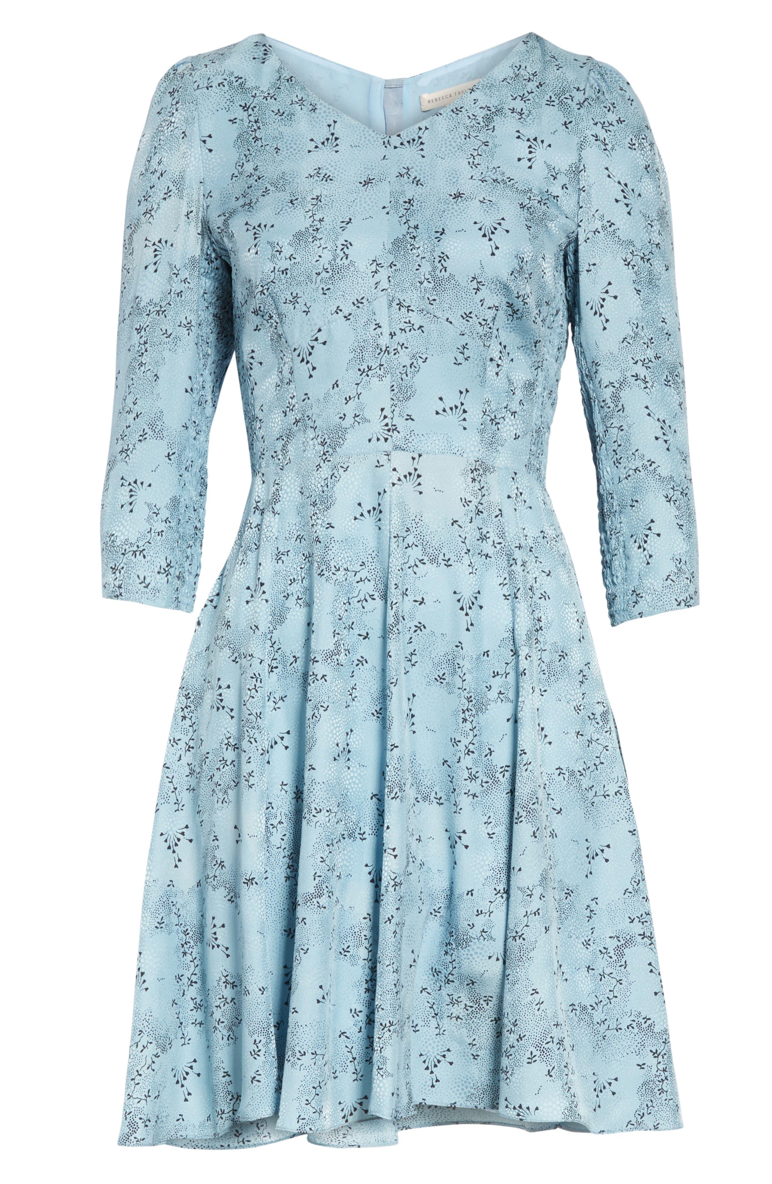 REBECCA TAYLOR, Gianna Floral Silk Dress, Alternate thumbnail 7, color, LAGOON COMBO