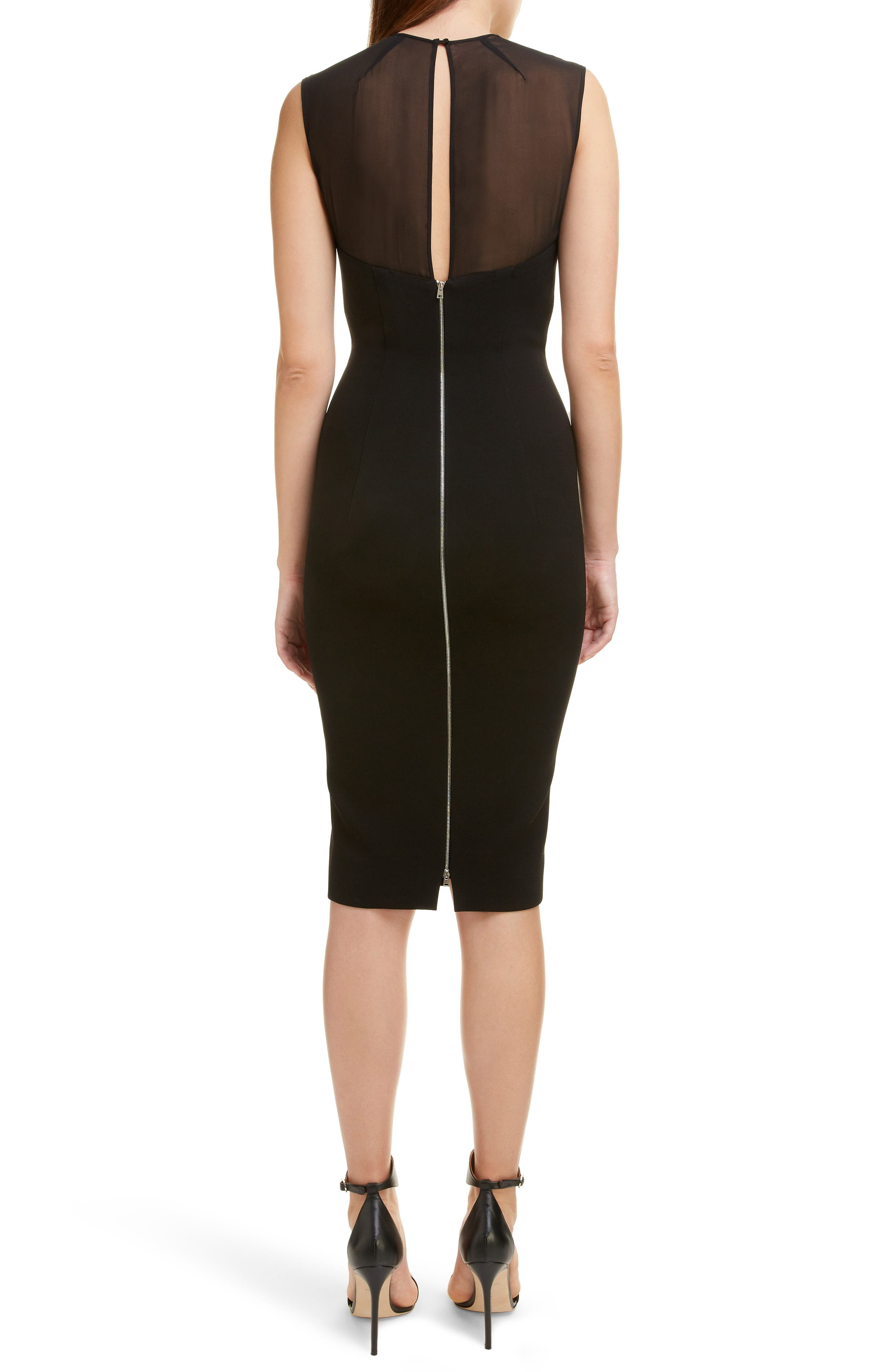 VICTORIA BECKHAM, Sheer Yoke Sheath Dress, Alternate thumbnail 2, color, BLACK