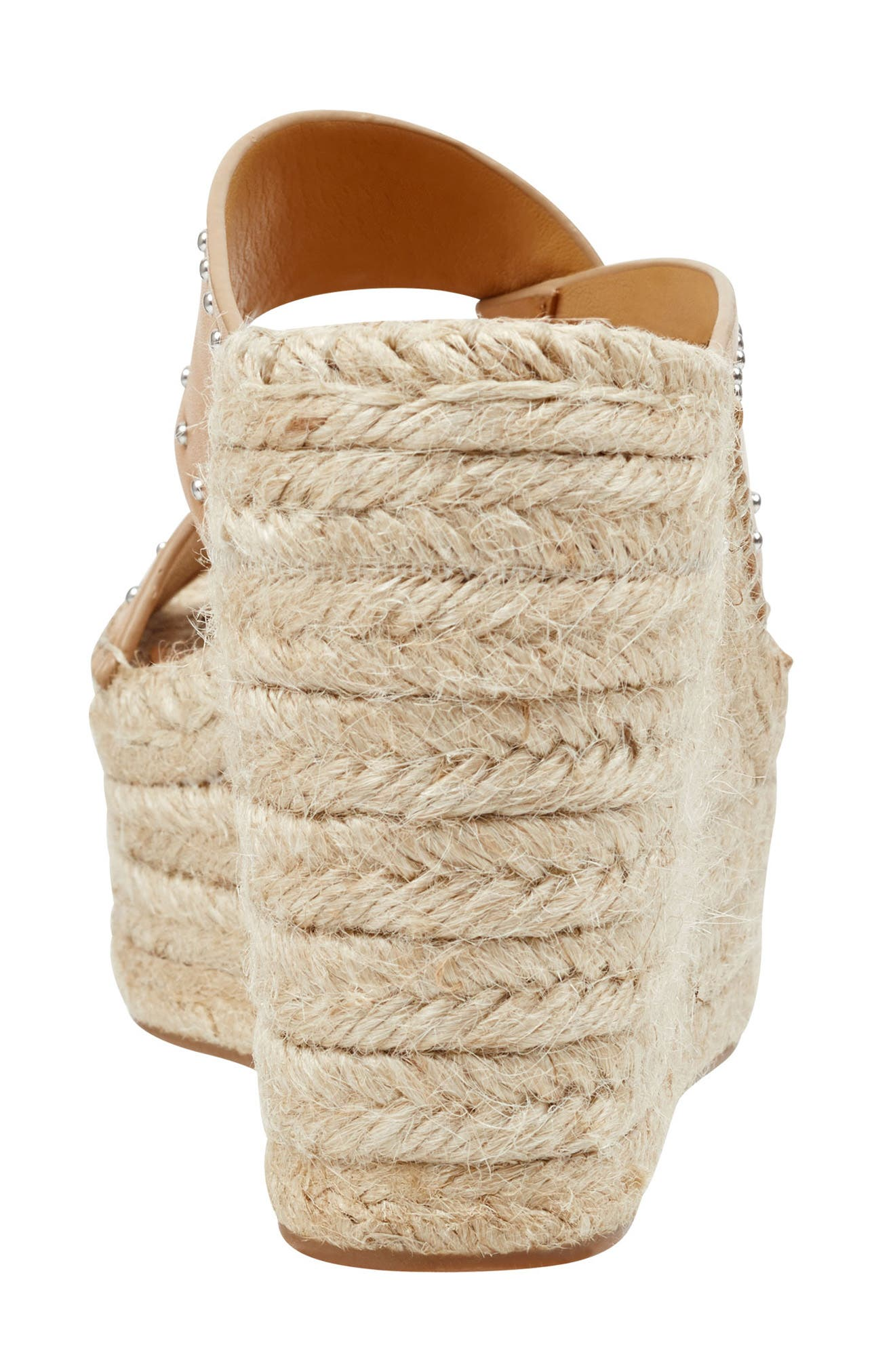 MARC FISHER LTD, Angelina Espadrille Wedge, Alternate thumbnail 7, color, TAN LEATHER