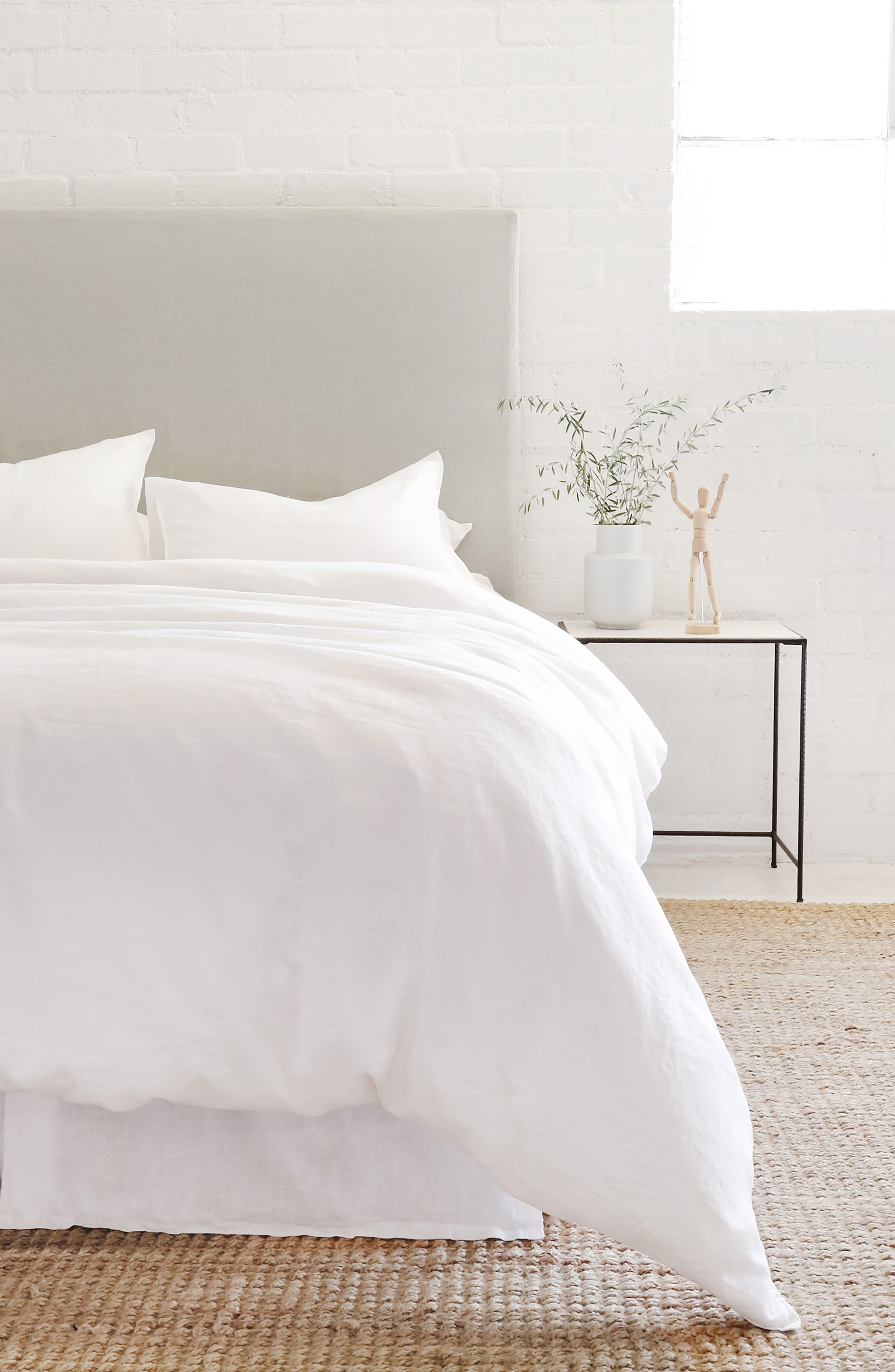 POM POM AT HOME, Parker Linen Duvet Cover & Sham Set, Main thumbnail 1, color, WHITE