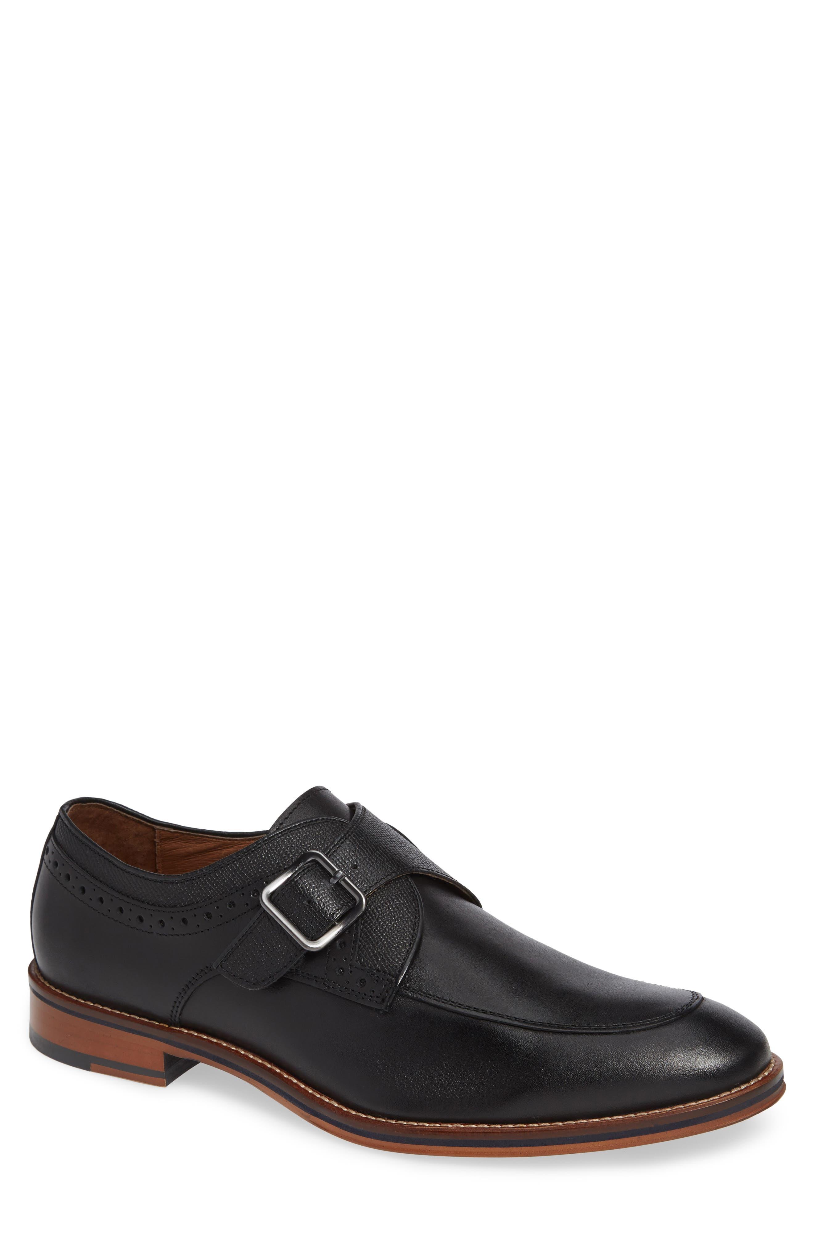 JOHNSTON & MURPHY Conard Monk Strap Shoe, Main, color, BLACK LEATHER
