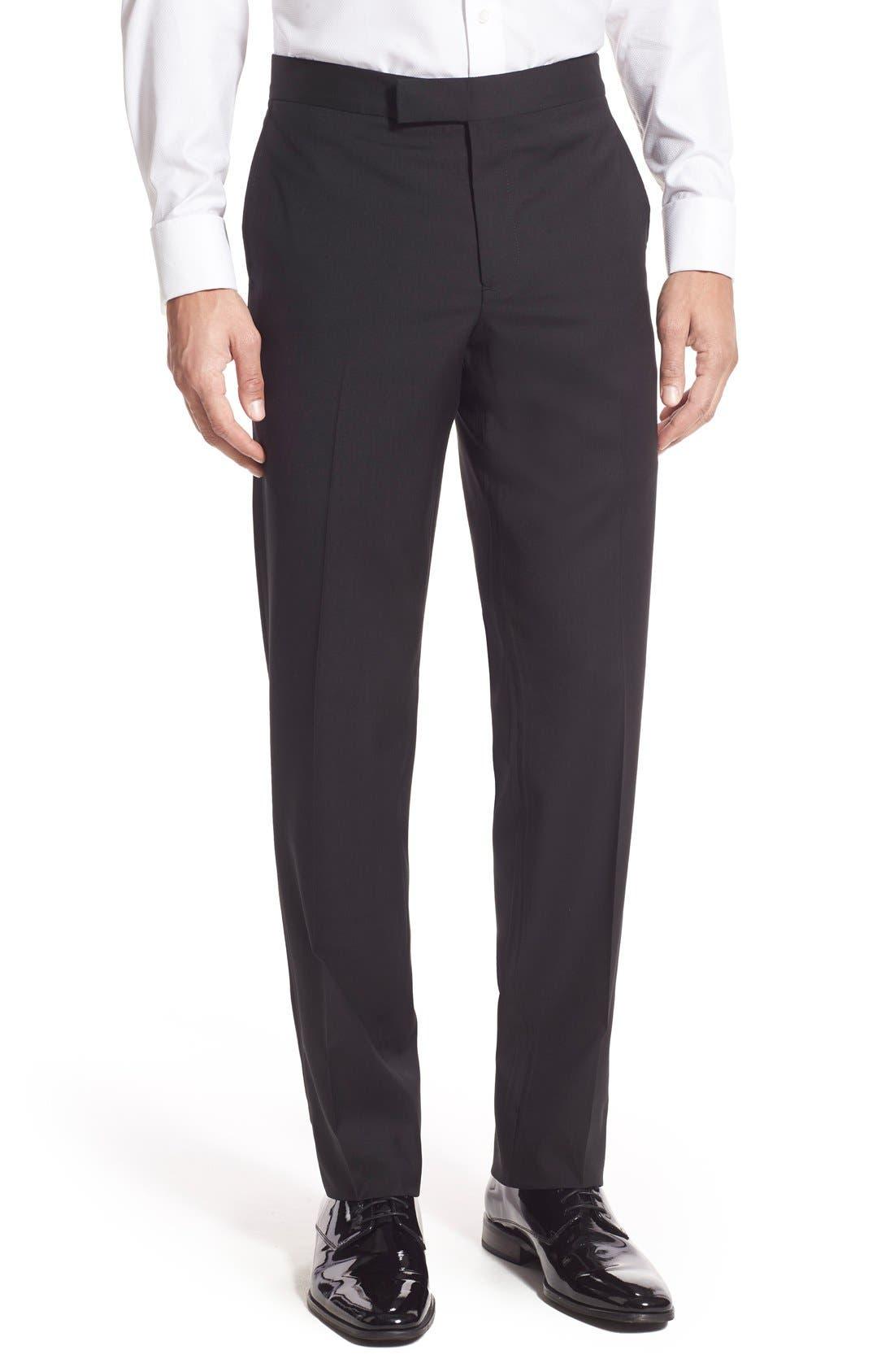NORDSTROM MEN'S SHOP, Trim Fit Wool Tuxedo, Alternate thumbnail 9, color, BLACK