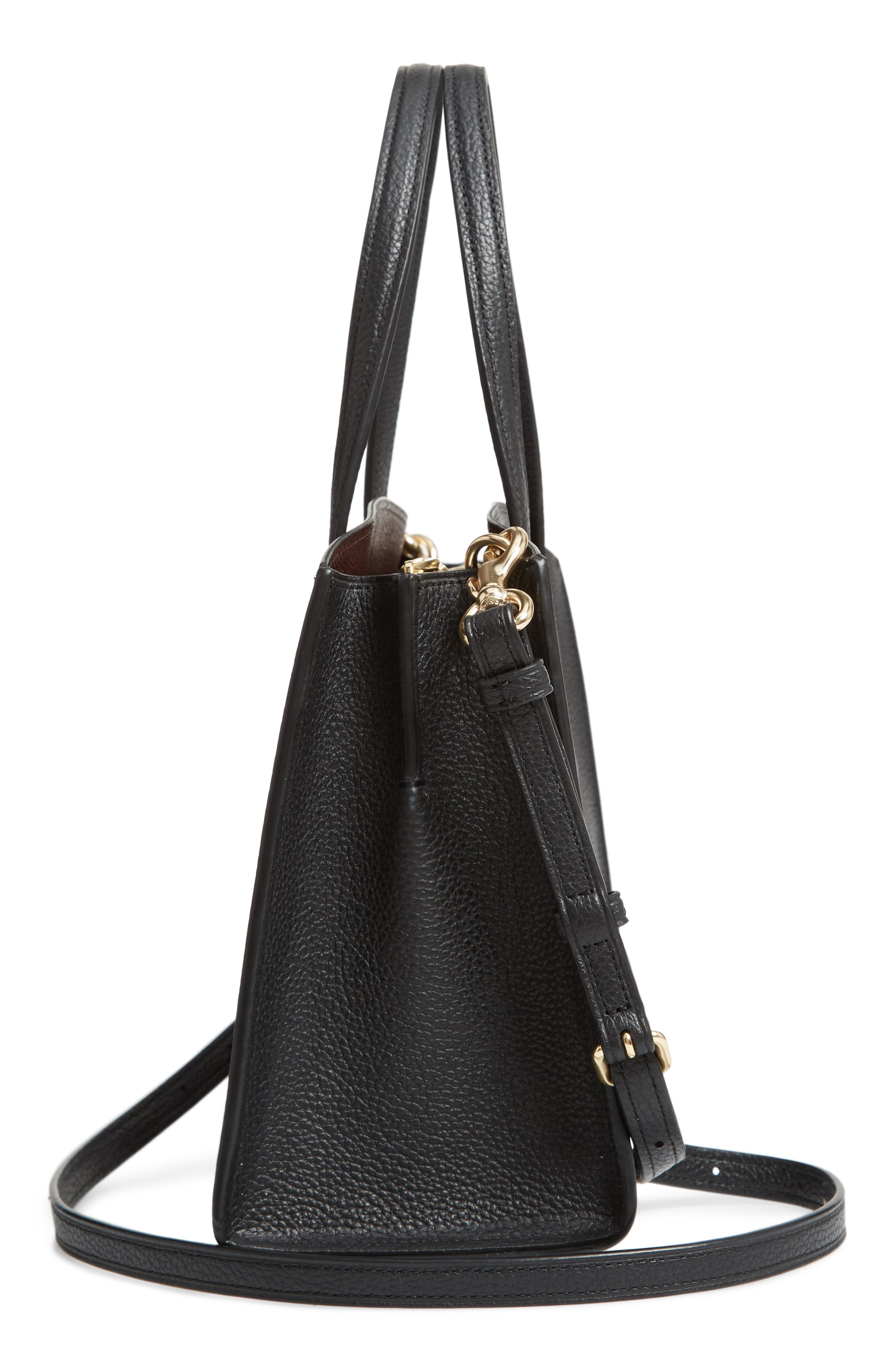 COACH, Charlie Leather Tote, Alternate thumbnail 5, color, BLACK