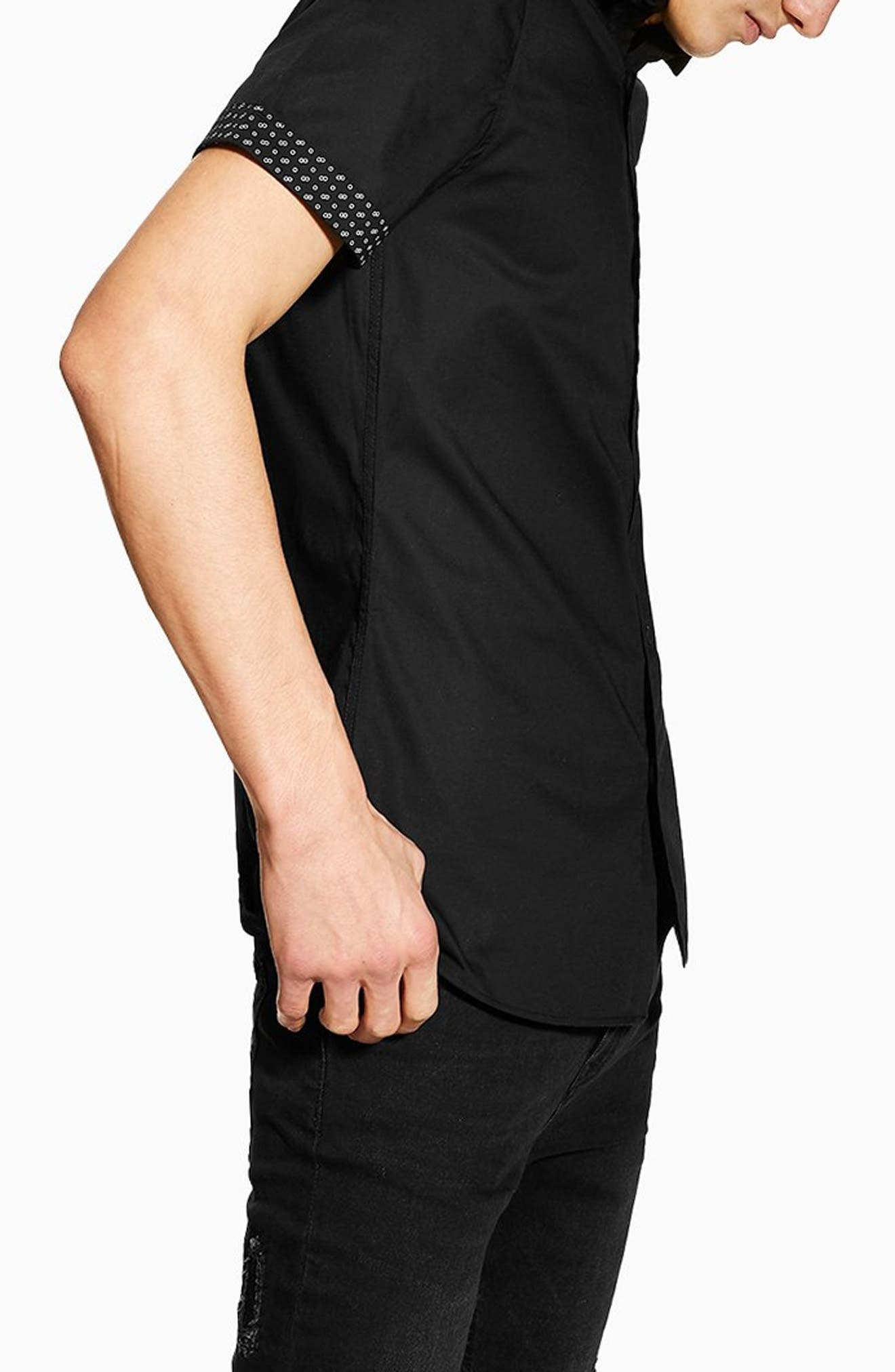 TOPMAN, Stretch Skinny Fit Shirt, Alternate thumbnail 3, color, 001