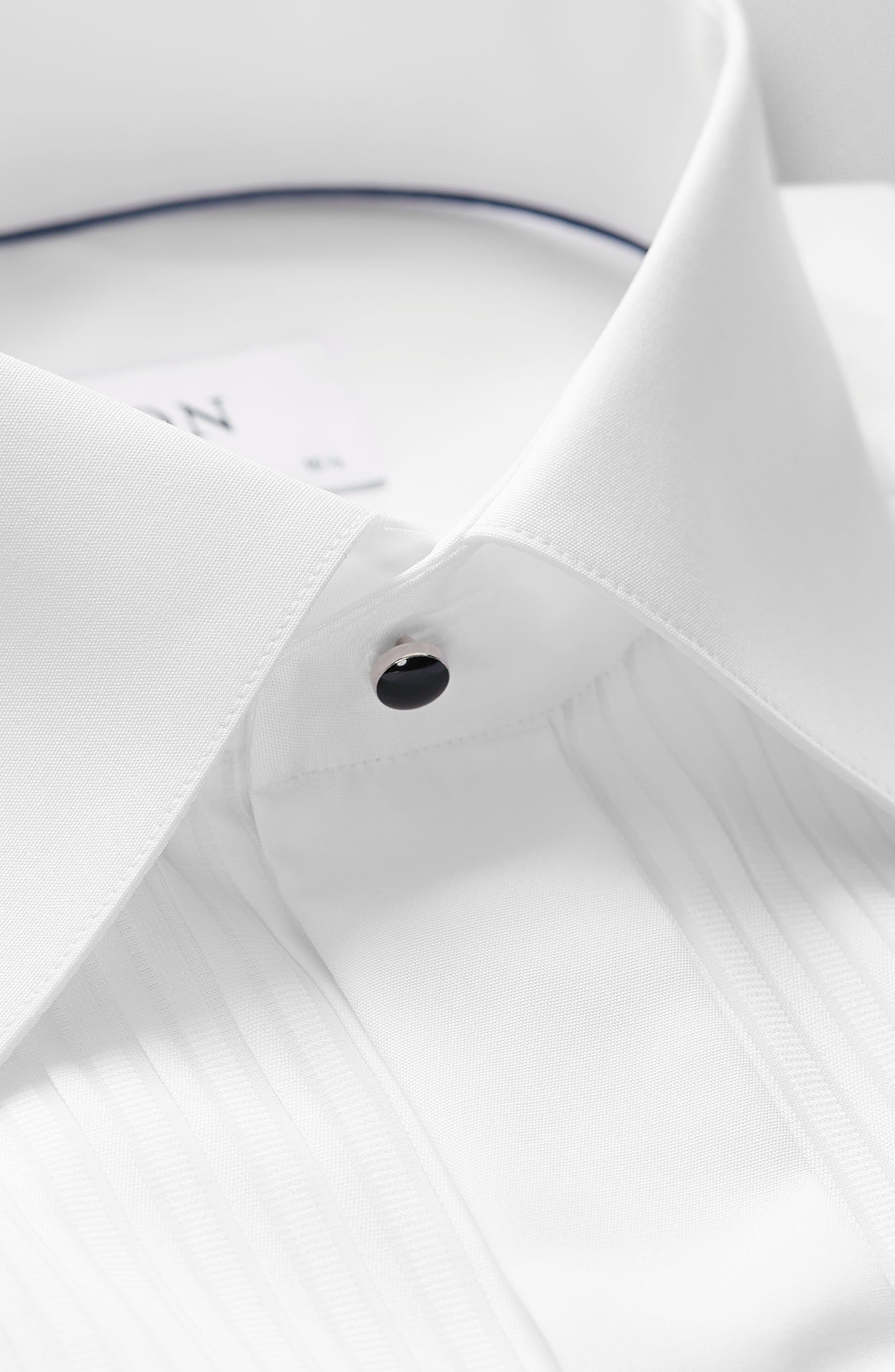 ETON, Slim Fit Pleated Bib Tuxedo Shirt, Alternate thumbnail 5, color, WHITE