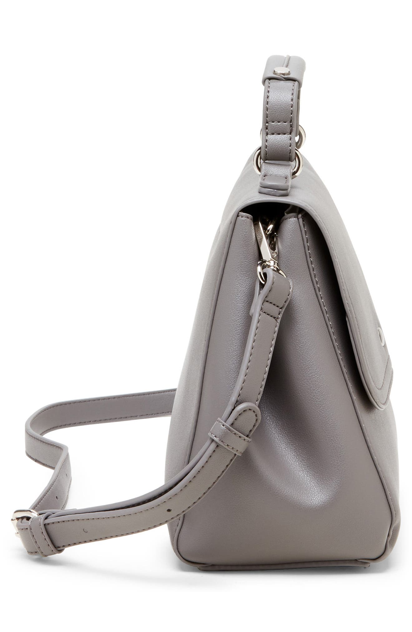 SOLE SOCIETY, Hingi Faux Leather Satchel, Alternate thumbnail 4, color, GREY