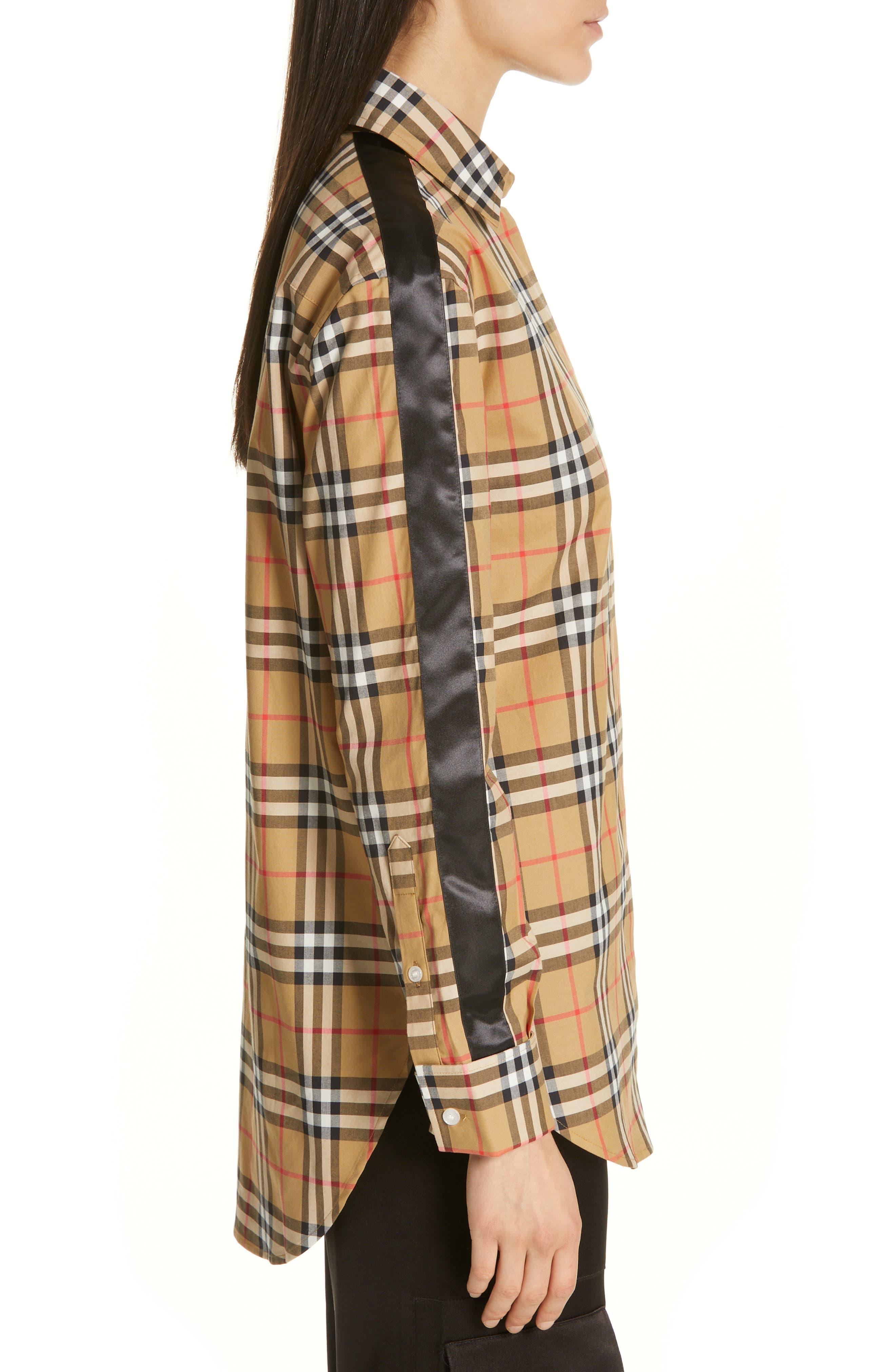 BURBERRY, Saoirse Vintage Check Cotton Shirt, Alternate thumbnail 4, color, ANTIQUE YELLOW CHECK
