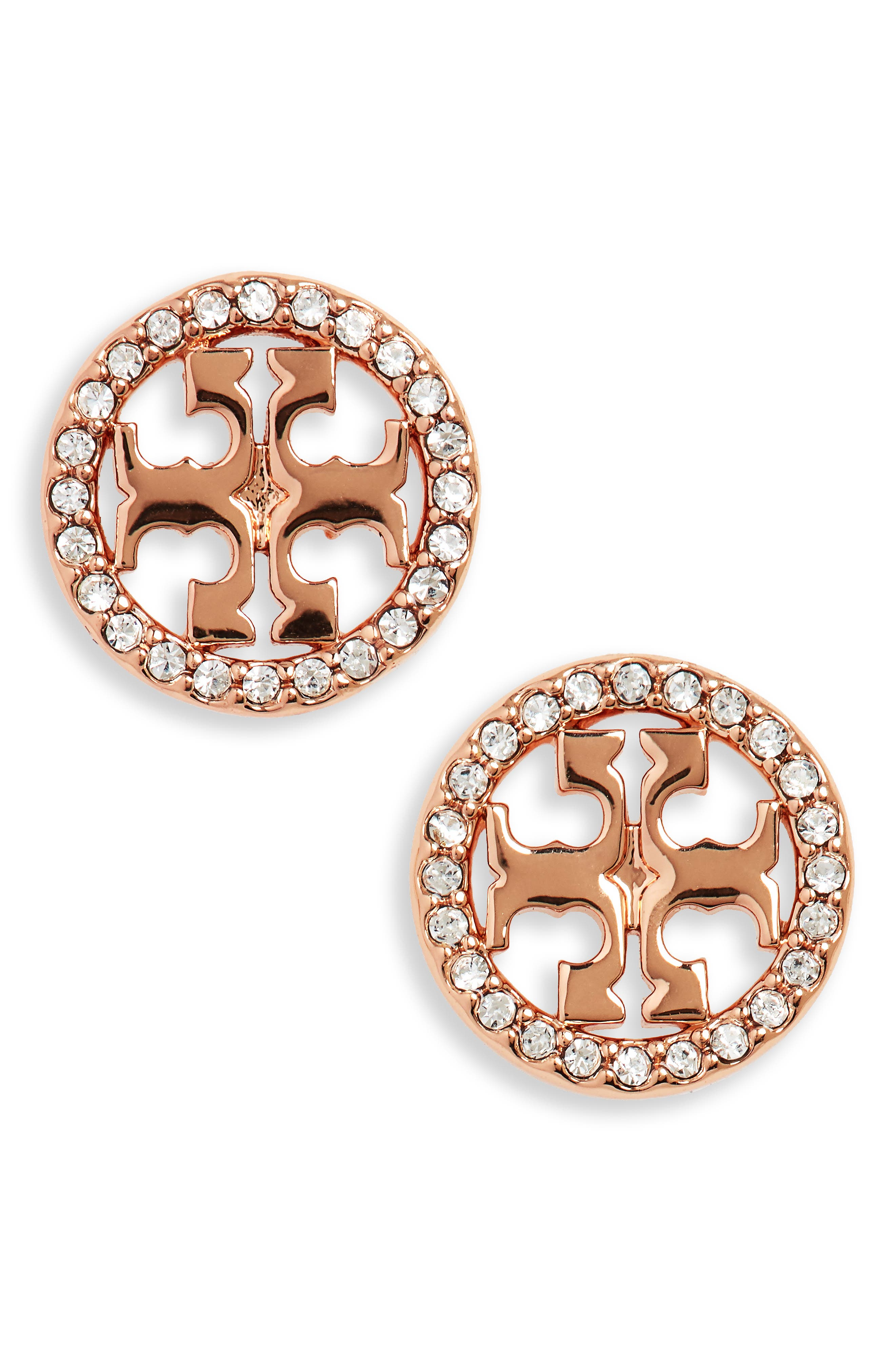 TORY BURCH, Crystal Logo Circle Stud Earrings, Main thumbnail 1, color, ROSE GOLD/ CRYSTAL