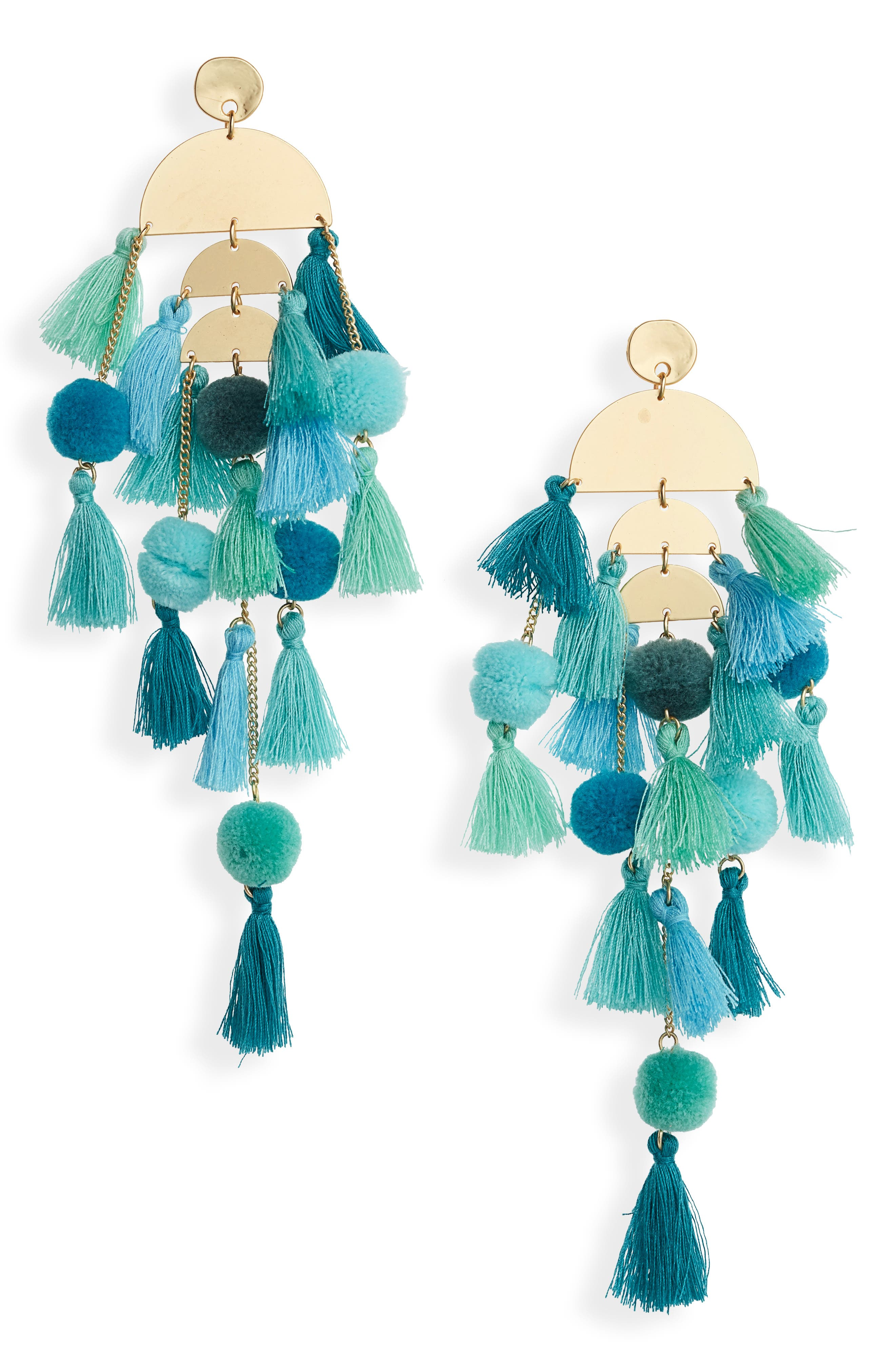 STELLA + RUBY Calypso Tassel Earrings, Main, color, GOLD/ TURQUOISE
