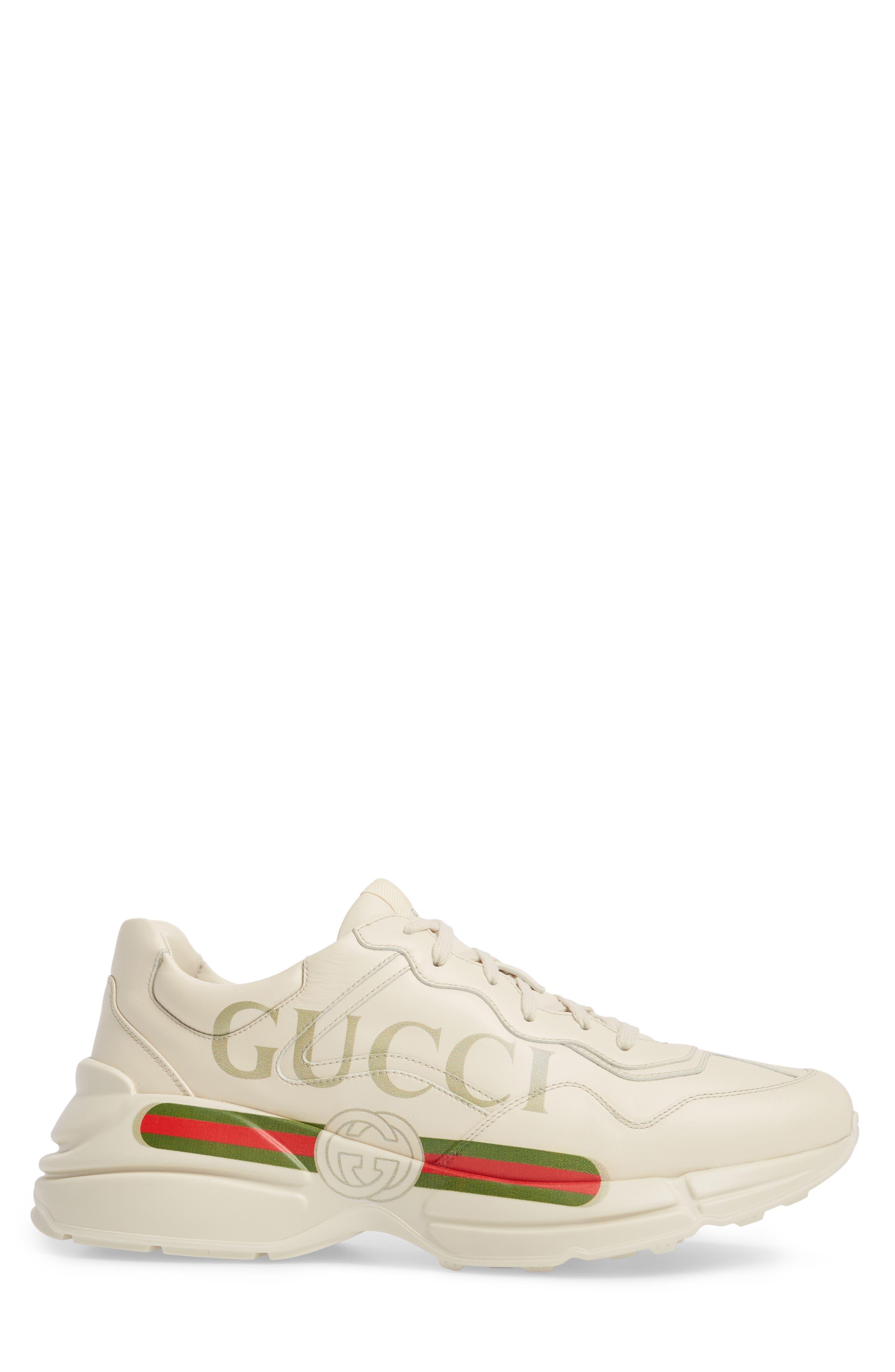 GUCCI, Logo Leather Sneaker, Alternate thumbnail 3, color, WHITE PRINT