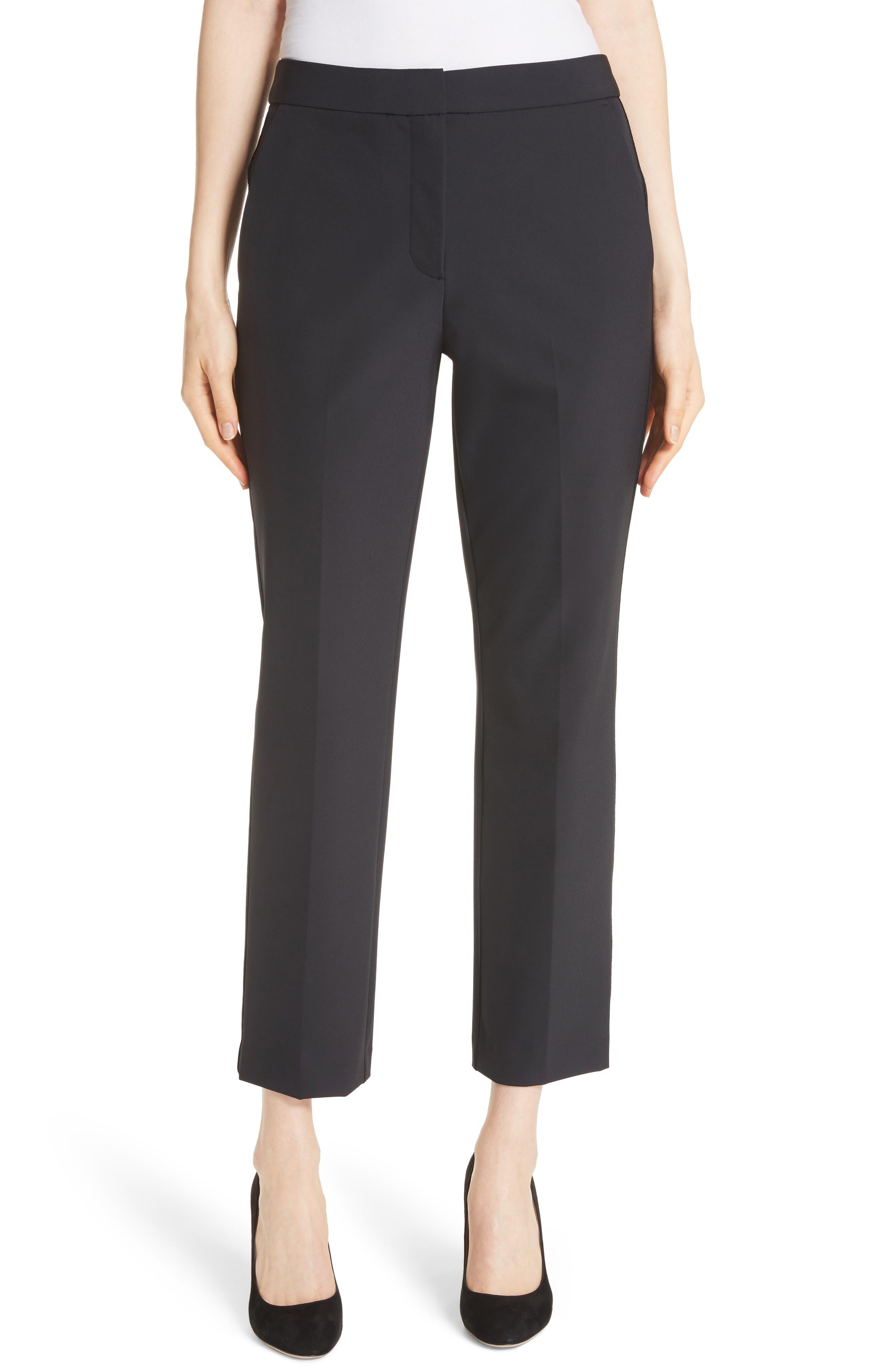 REBECCA TAYLOR, Audra Crop Pants, Main thumbnail 1, color, BLACK