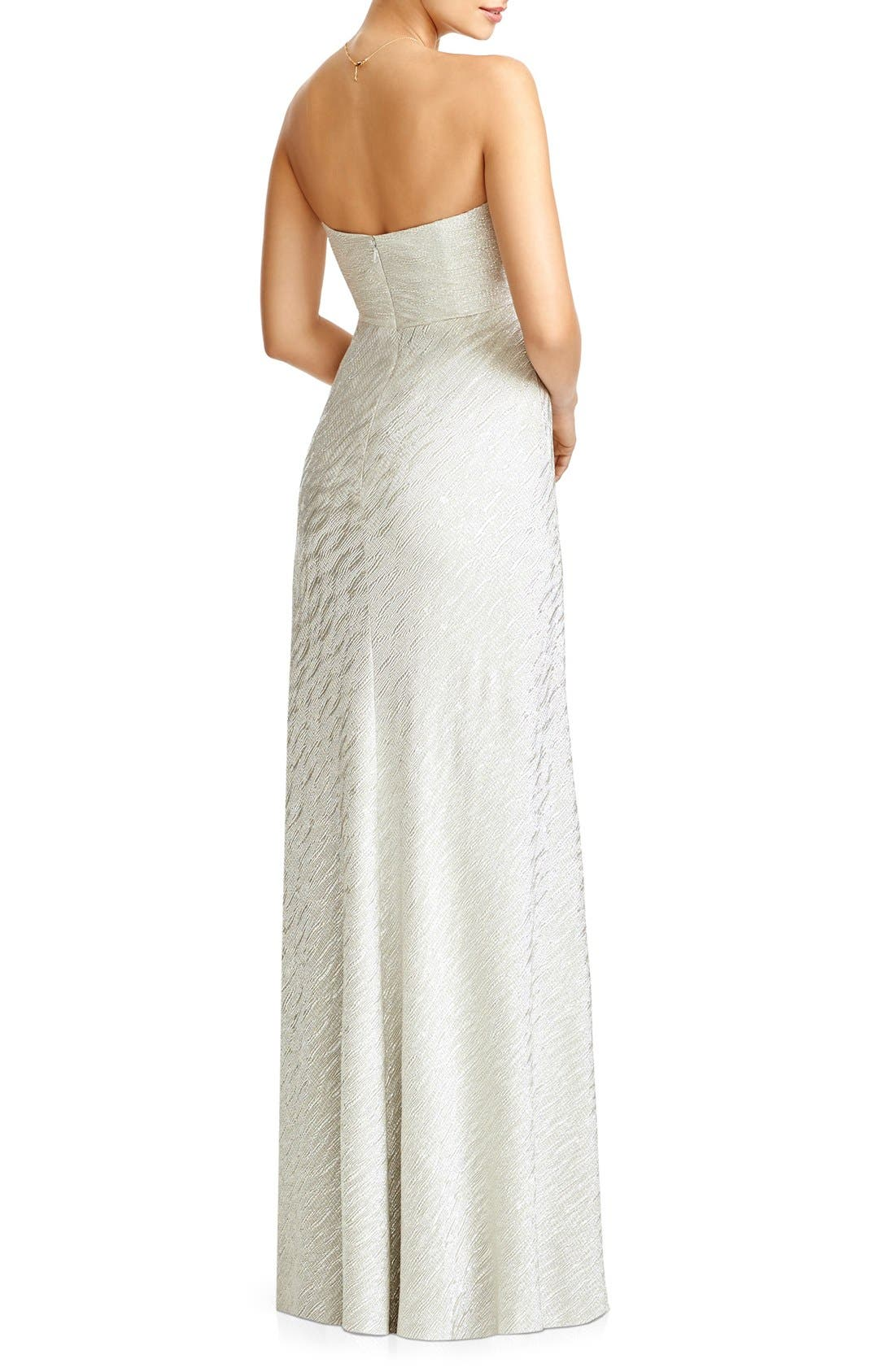 JY JENNY YOO, 'Soho' Metallic Strapless Empire Waist Gown, Alternate thumbnail 2, color, CHAMPAGNE SILVER