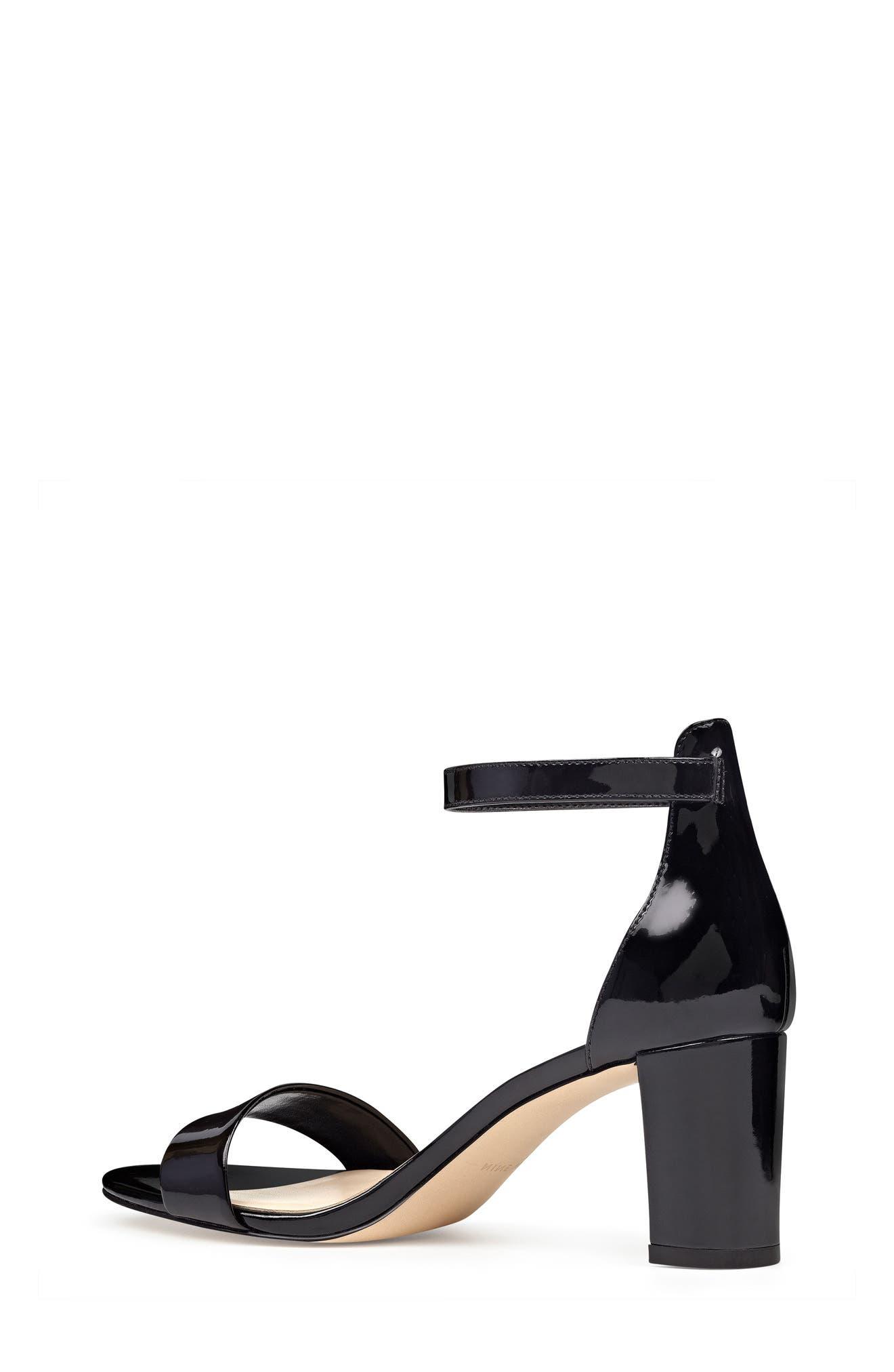 NINE WEST, Pruce Ankle Strap Sandal, Alternate thumbnail 2, color, BLACK PATENT