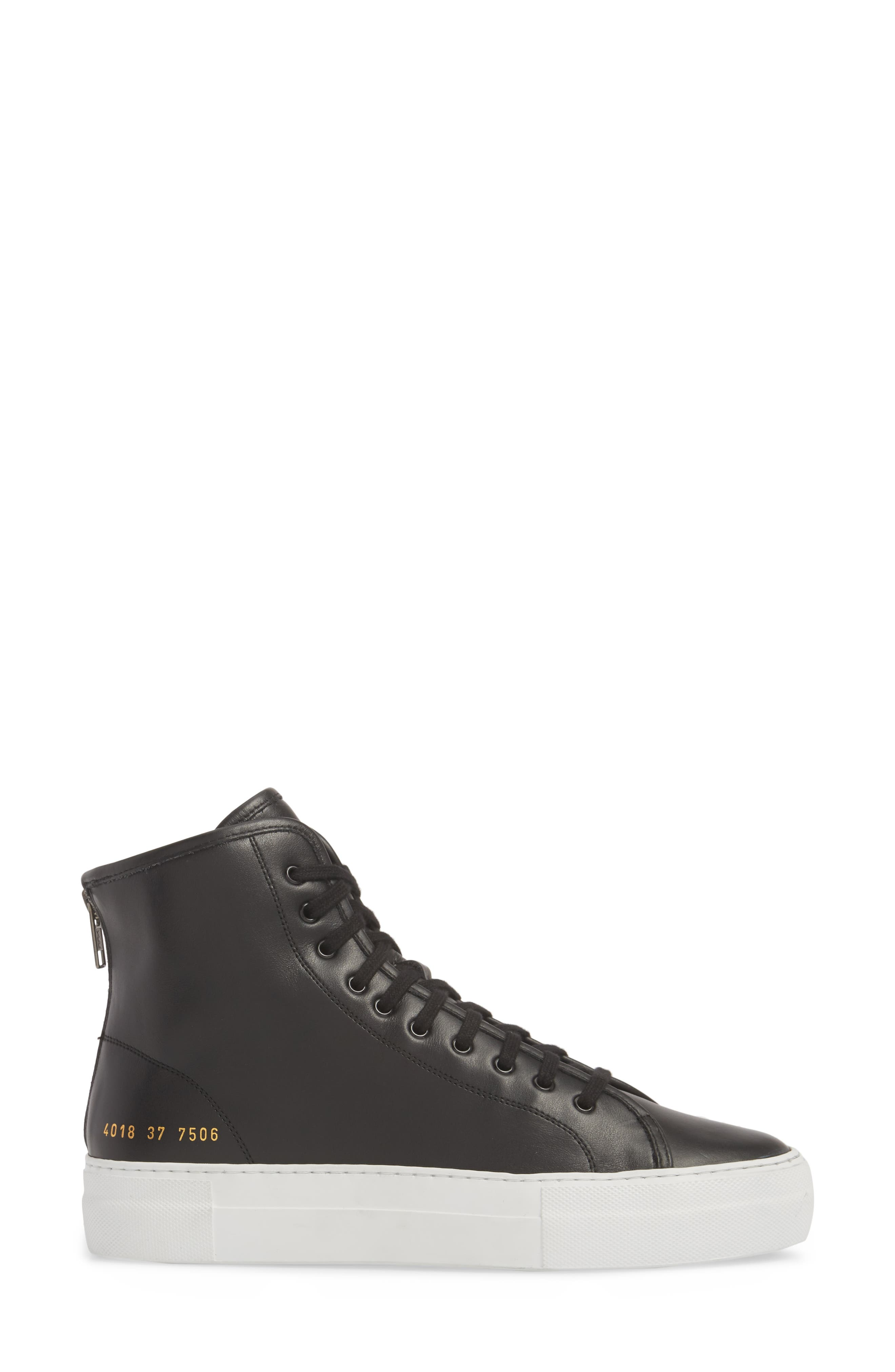 COMMON PROJECTS, Tournament High Super Sneaker, Alternate thumbnail 3, color, BLACK/ WHITE