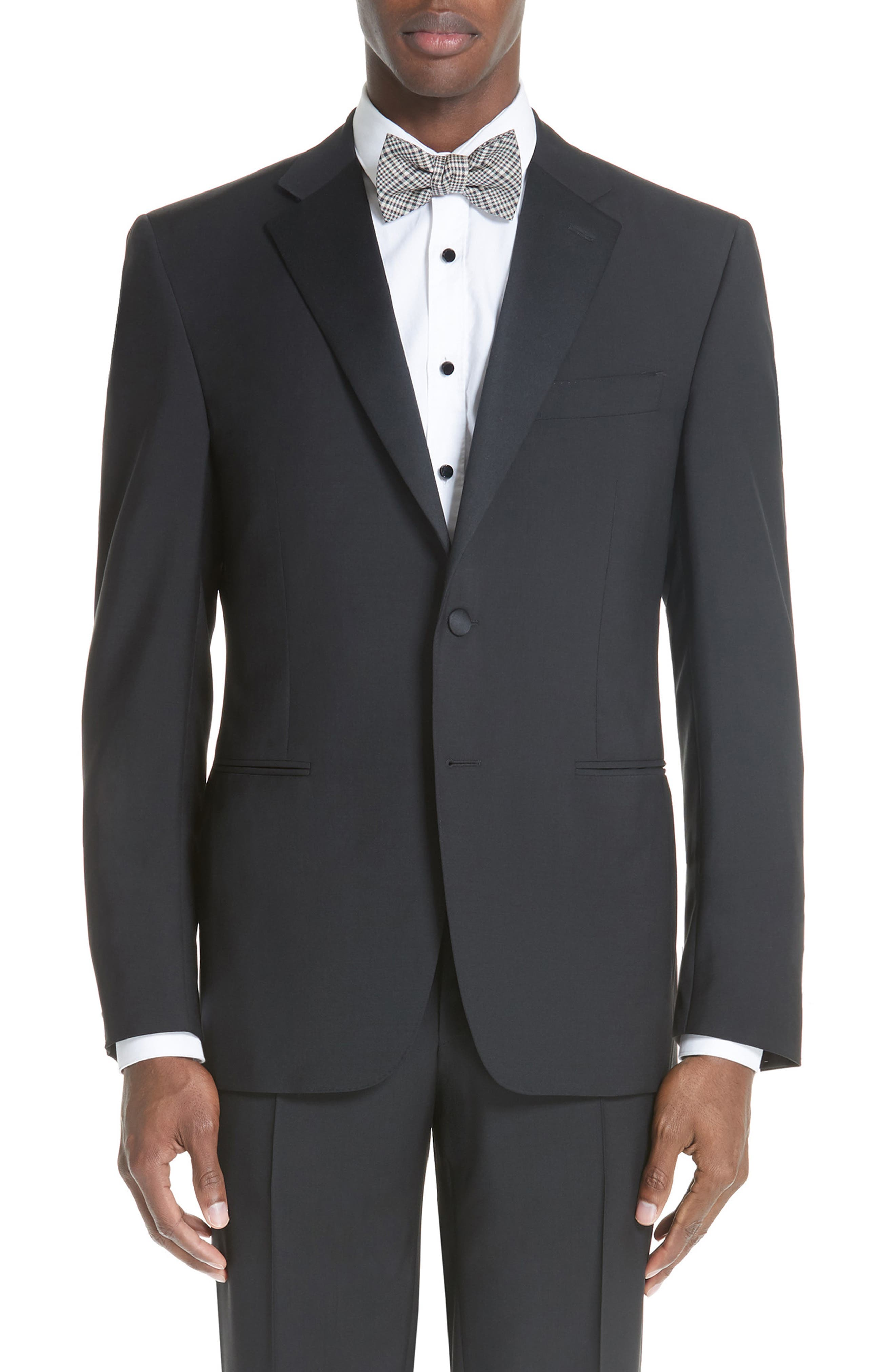 CANALI, 13000 Classic Fit Wool & Mohair Tuxedo, Alternate thumbnail 7, color, BLACK