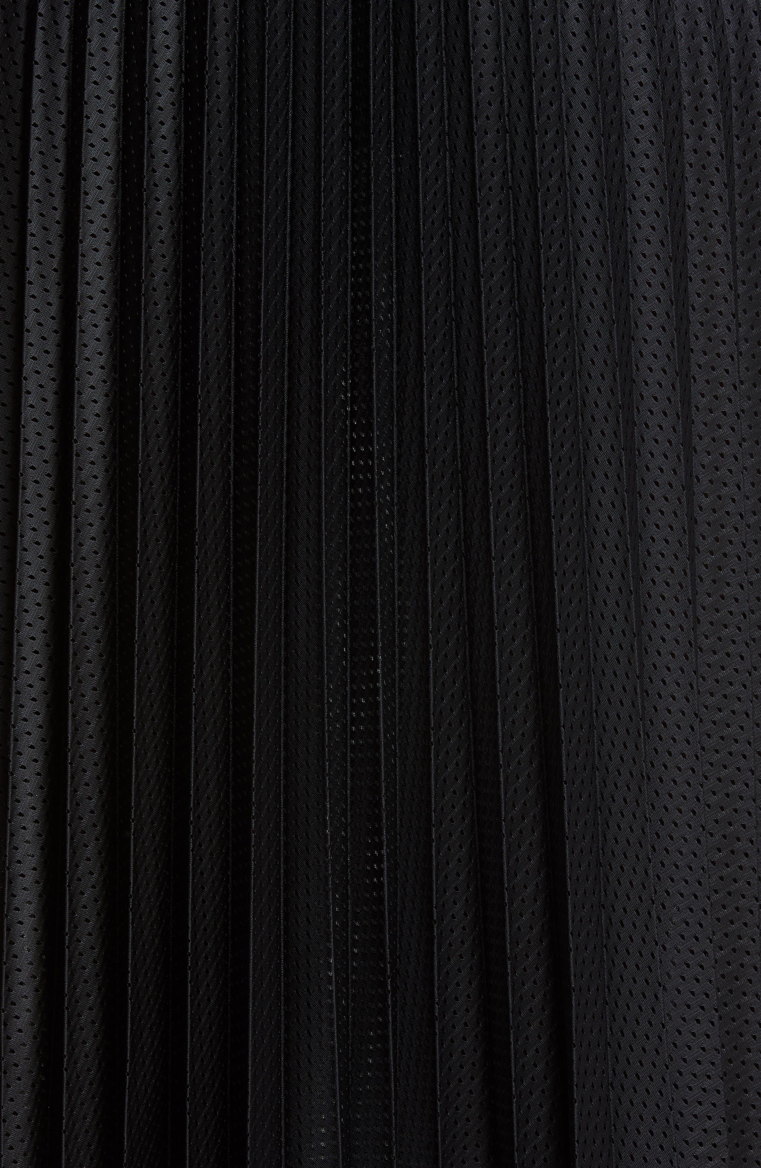 MONCLER, Pleated Mesh Skirt, Alternate thumbnail 5, color, 001
