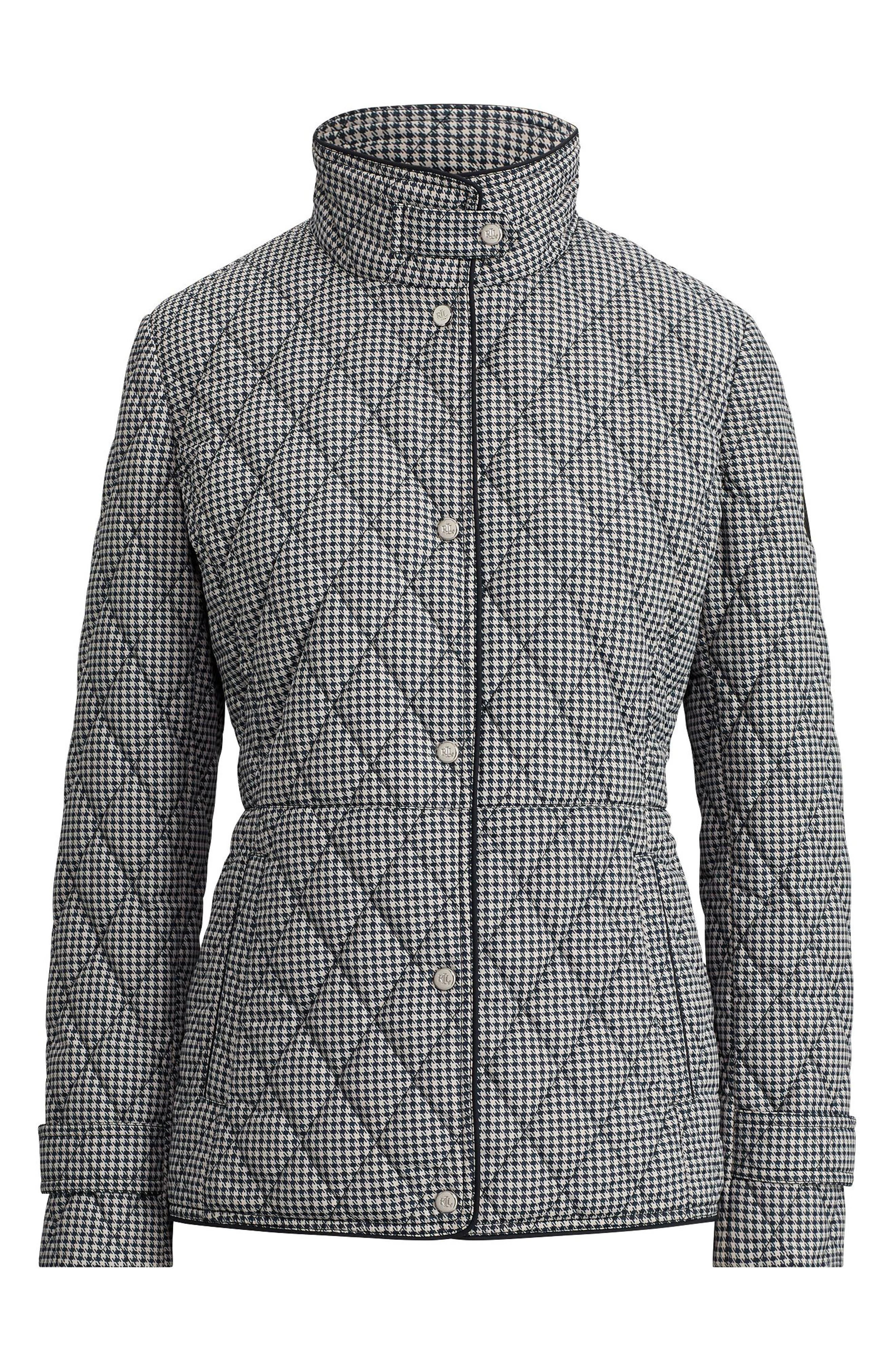 LAUREN RALPH LAUREN, Houndstooth Quilted Military Jacket, Alternate thumbnail 4, color, DK NAVY HOUNDSTOOTH