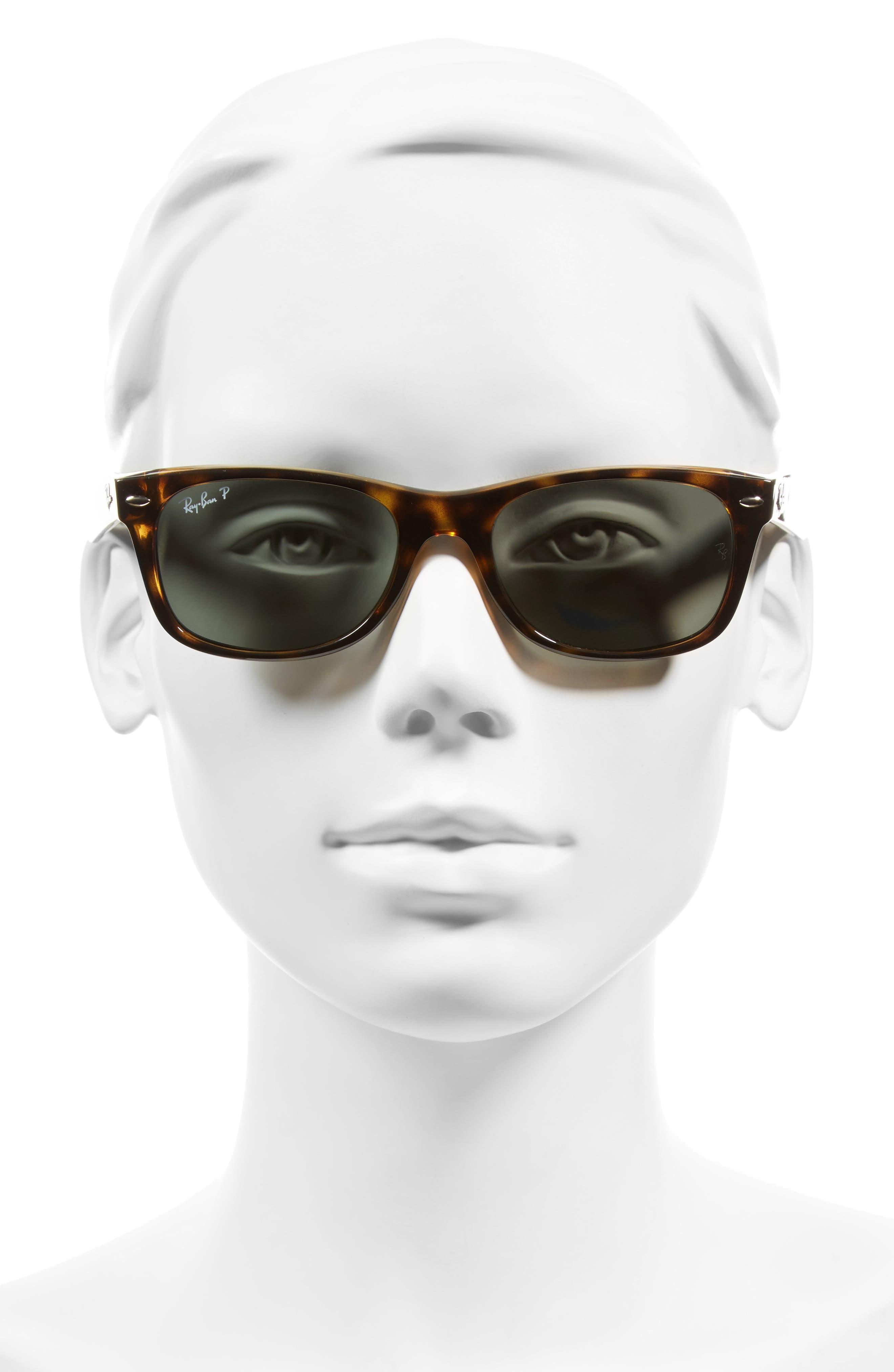 RAY-BAN, Small New Wayfarer 52mm Polarized Sunglasses, Alternate thumbnail 3, color, TORTOISE