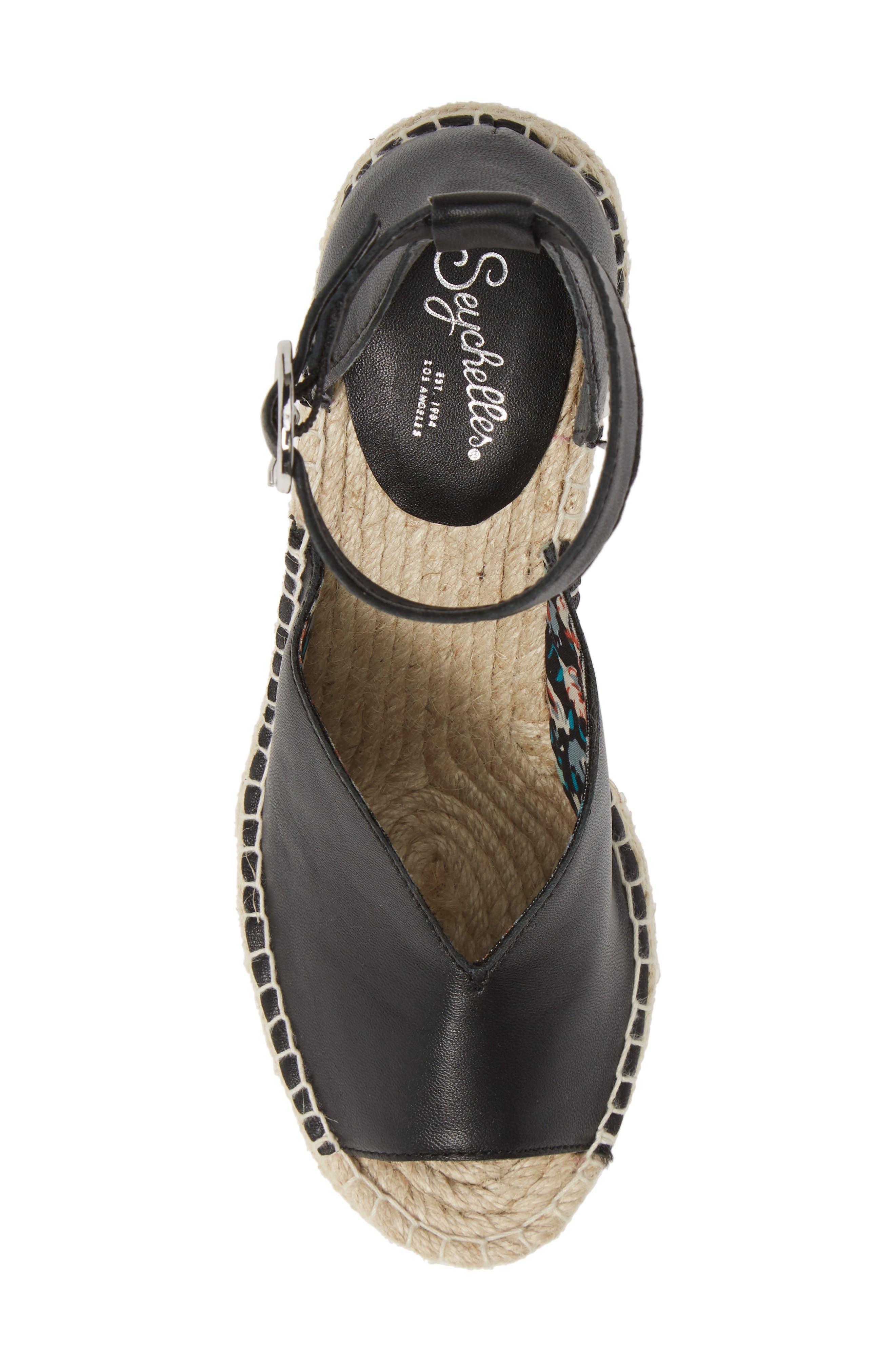 SEYCHELLES, Collectibles Espadrille Wedge Sandal, Alternate thumbnail 5, color, BLACK LEATHER