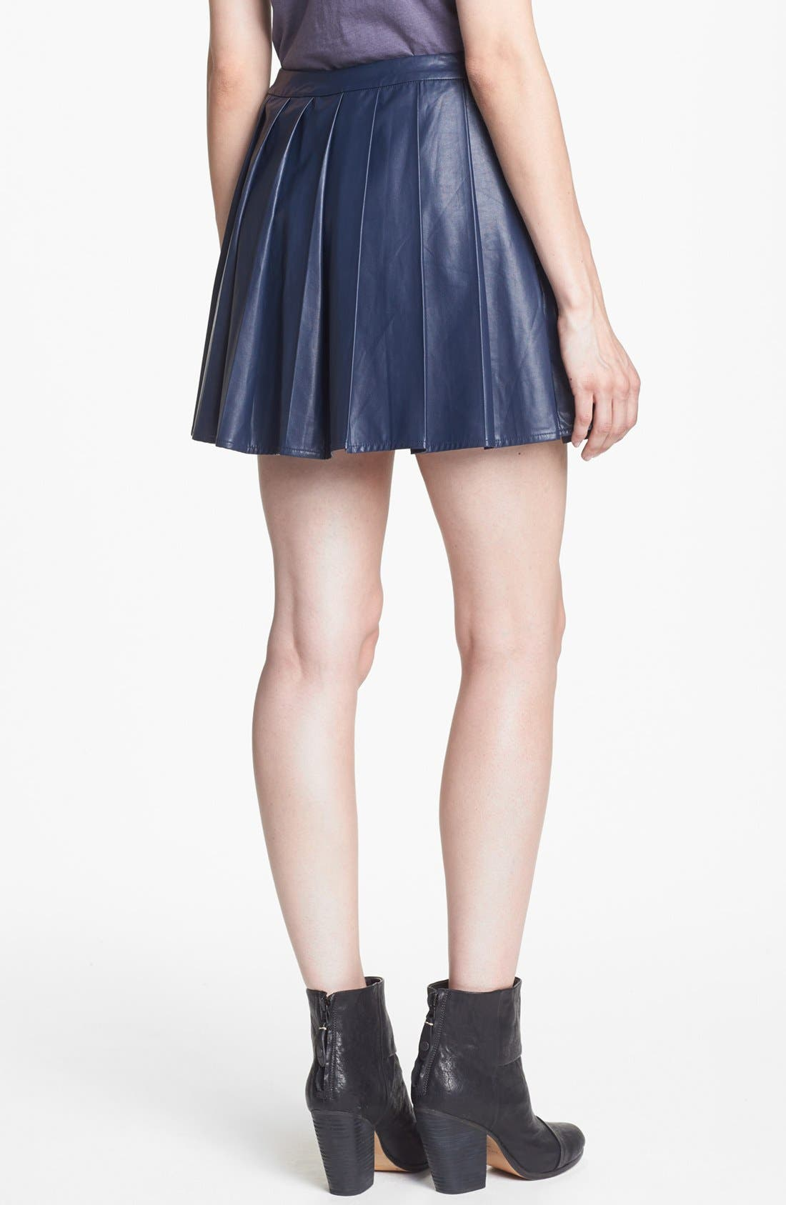 ASTR THE LABEL, ASTR Pleated Faux Leather Skirt, Alternate thumbnail 2, color, 422
