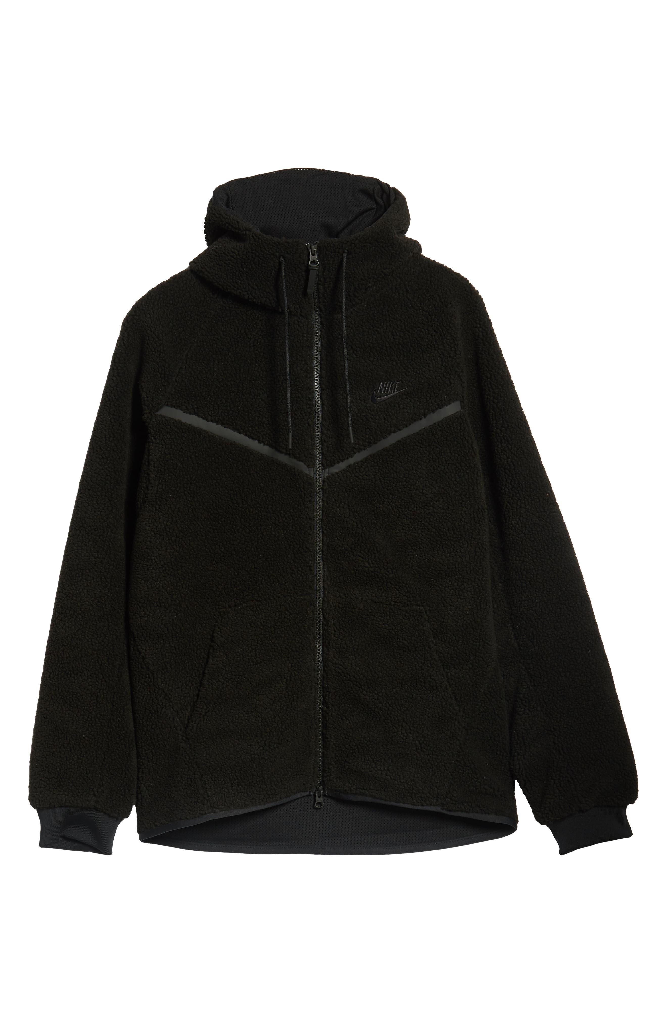 NIKE, Tech Icon Fleece Zip Hoodie, Alternate thumbnail 7, color, BLACK/ BLACK