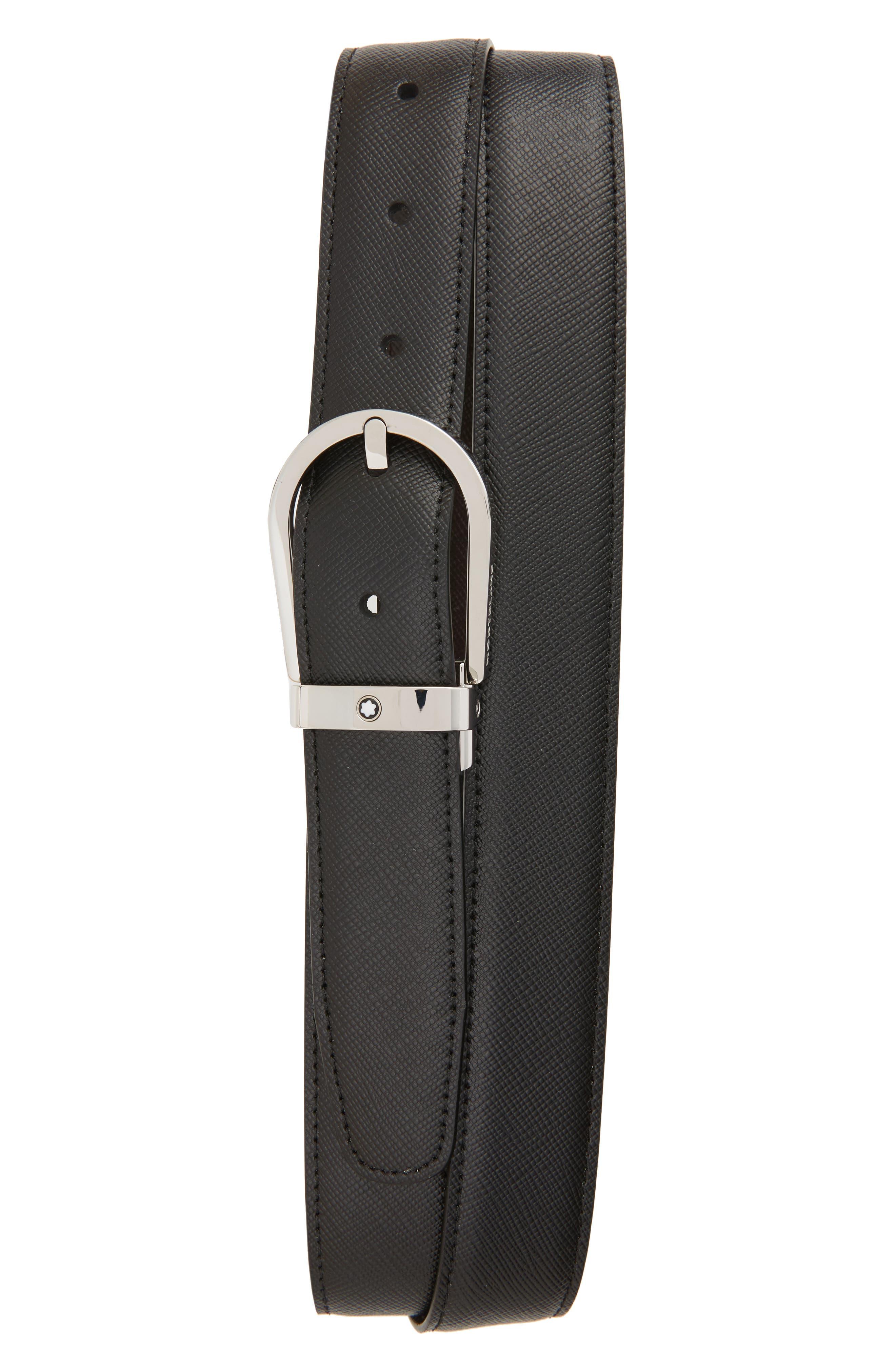 MONTBLANC, Horseshoe Buckle Reversible Sartorial Leather Belt, Main thumbnail 1, color, BLACK/ BROWN
