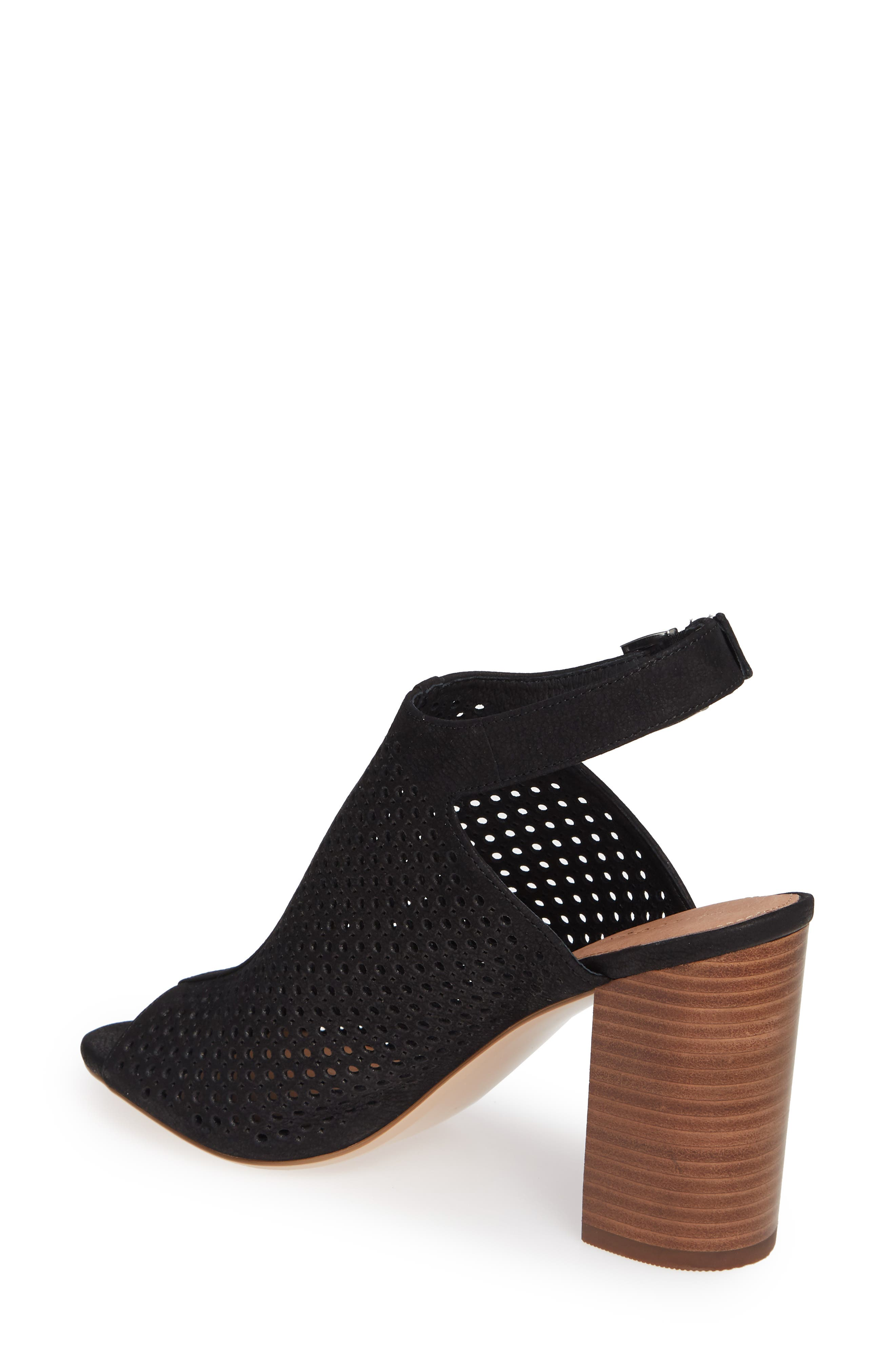 HALOGEN<SUP>®</SUP>, Demi Perforated Shield Sandal, Alternate thumbnail 2, color, BLACK OILED NUBUCK