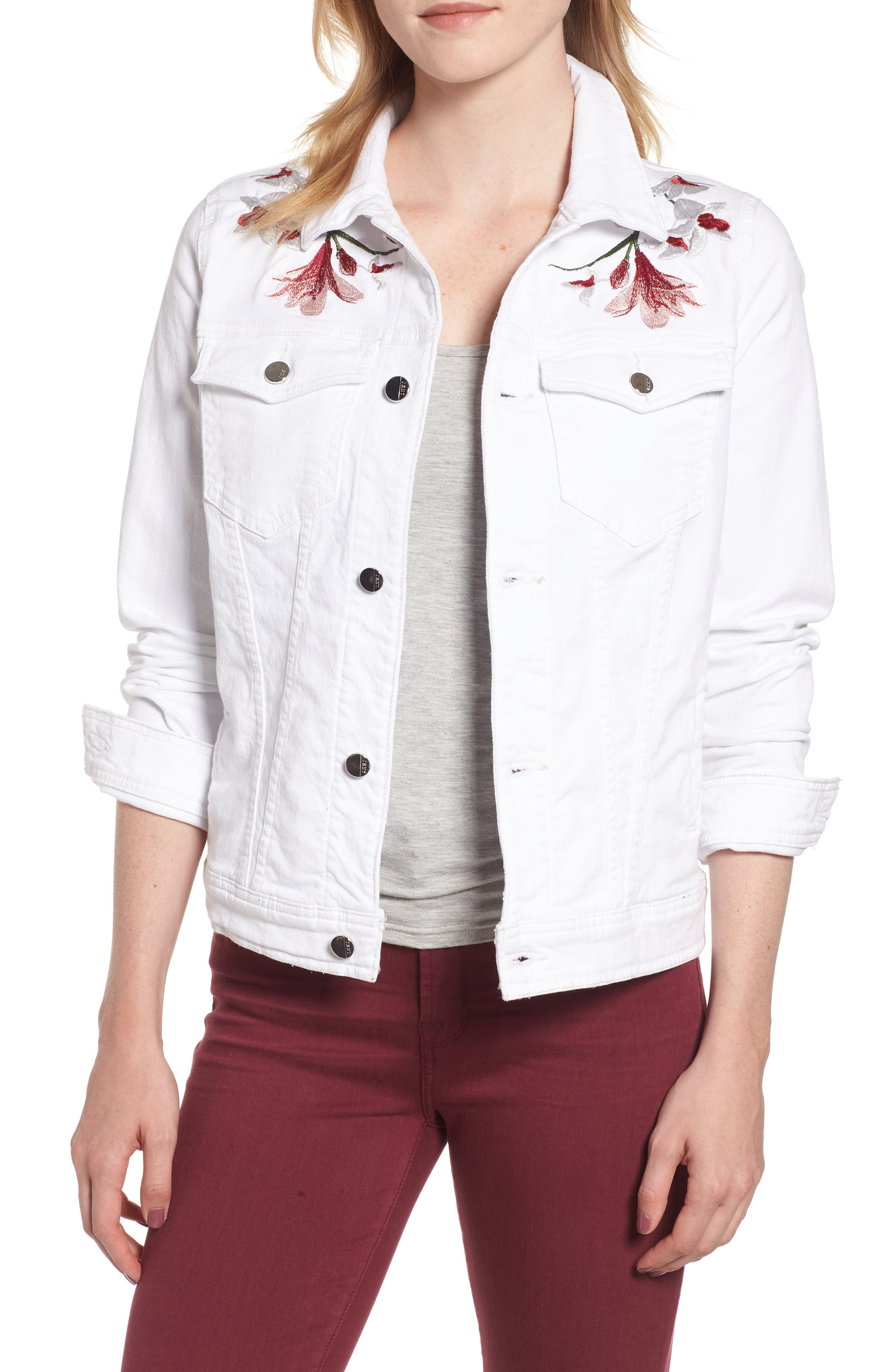 JEN7 BY 7 FOR ALL MANKIND Embroidered Denim Jacket, Main, color, 102
