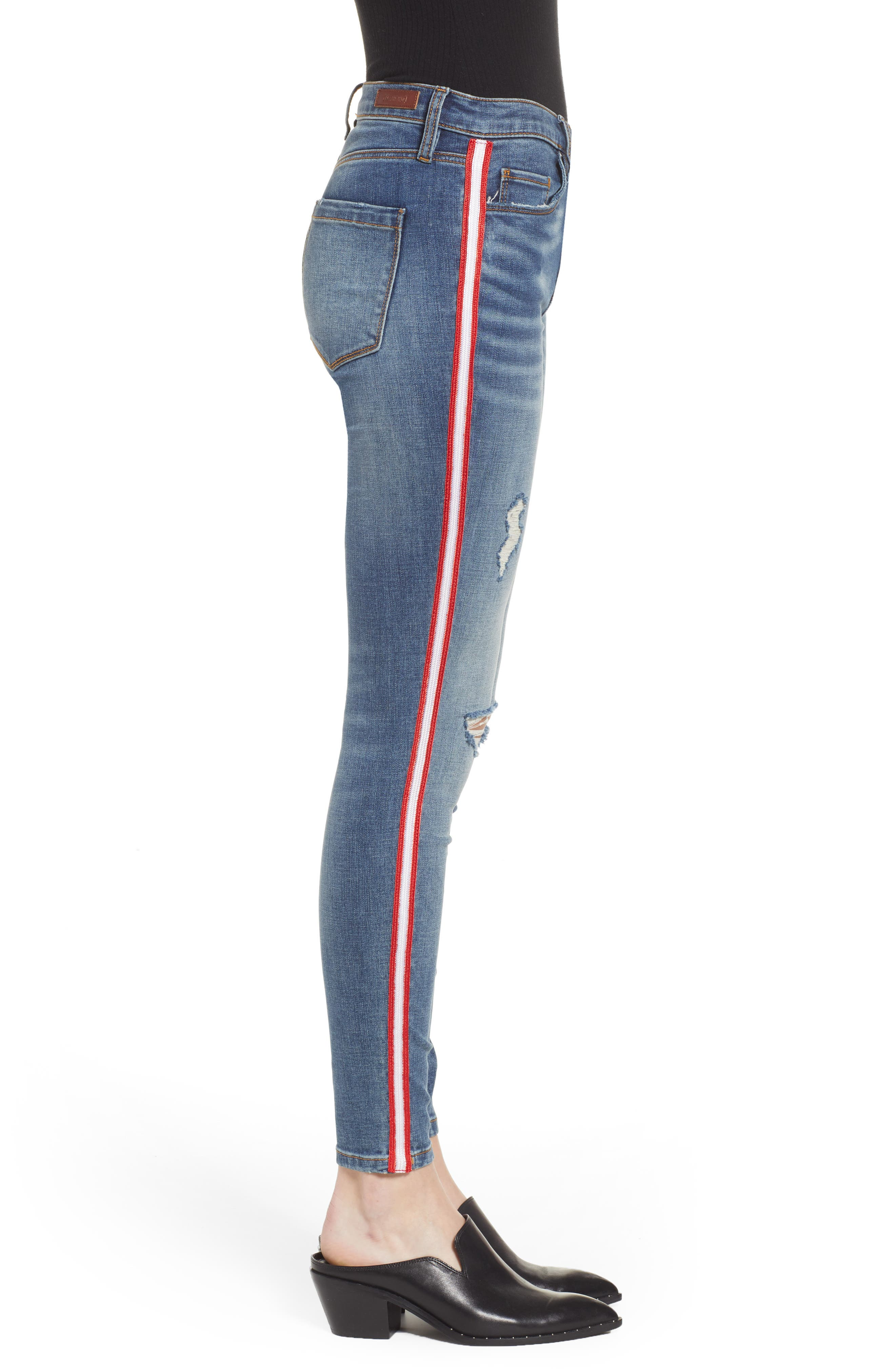 BLANKNYC, Side Stripe Ripped Ankle Skinny Jeans, Alternate thumbnail 4, color, JERSEY GIRL