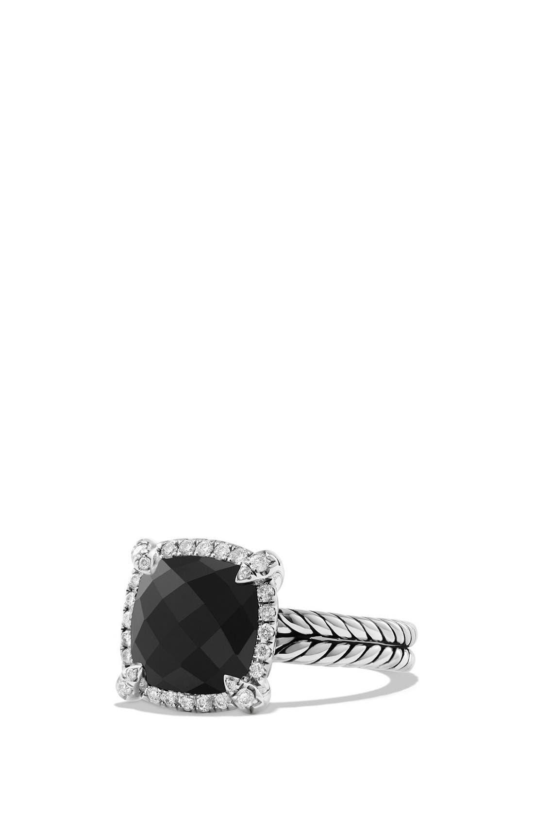DAVID YURMAN 'Châtelaine' Small Pavé Bezel Ring with Diamonds, Main, color, BLACK ONYX