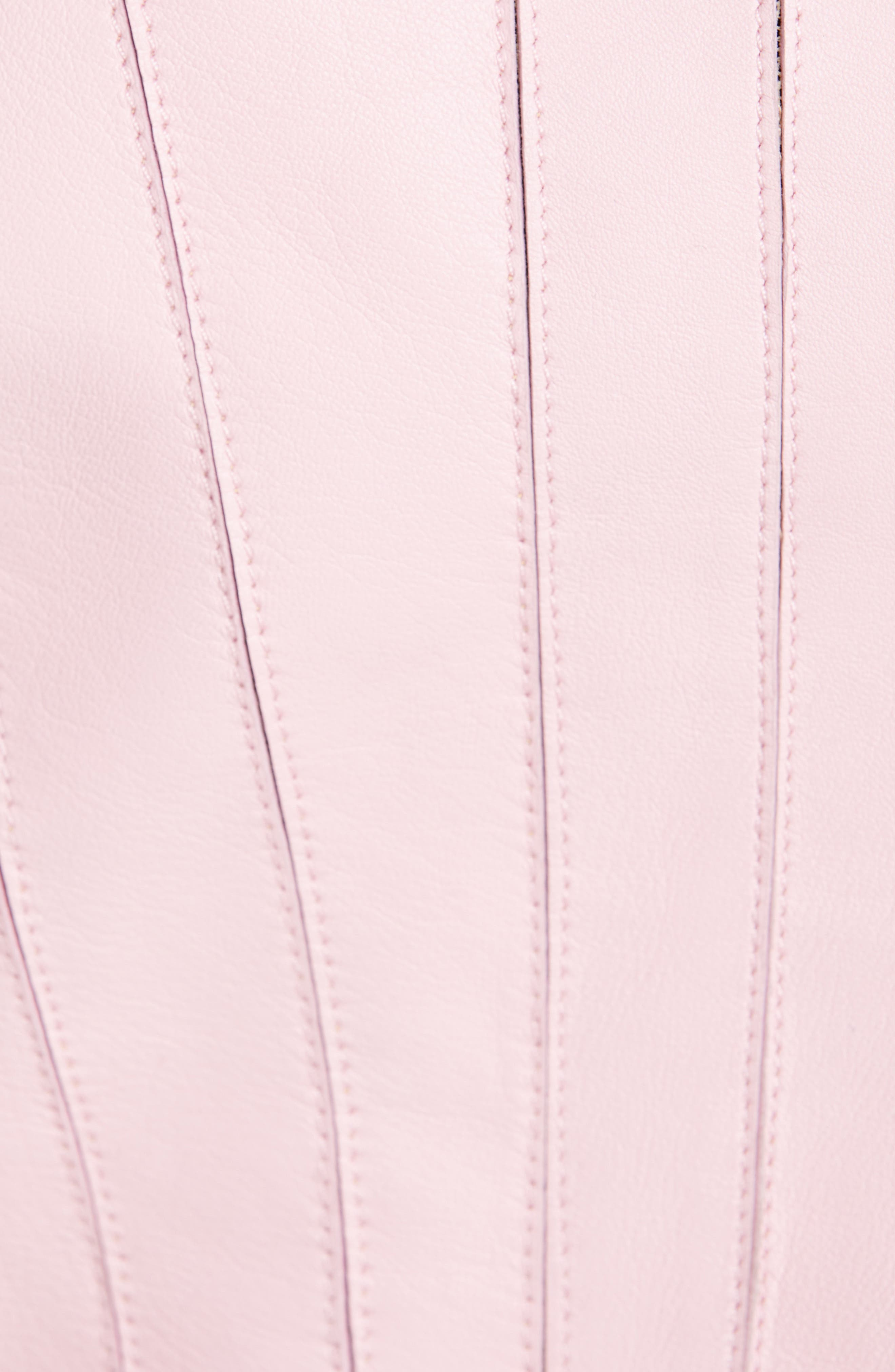 VERSACE COLLECTION, Mesh Rib Leather Jacket, Alternate thumbnail 6, color, PASTEL ROSE
