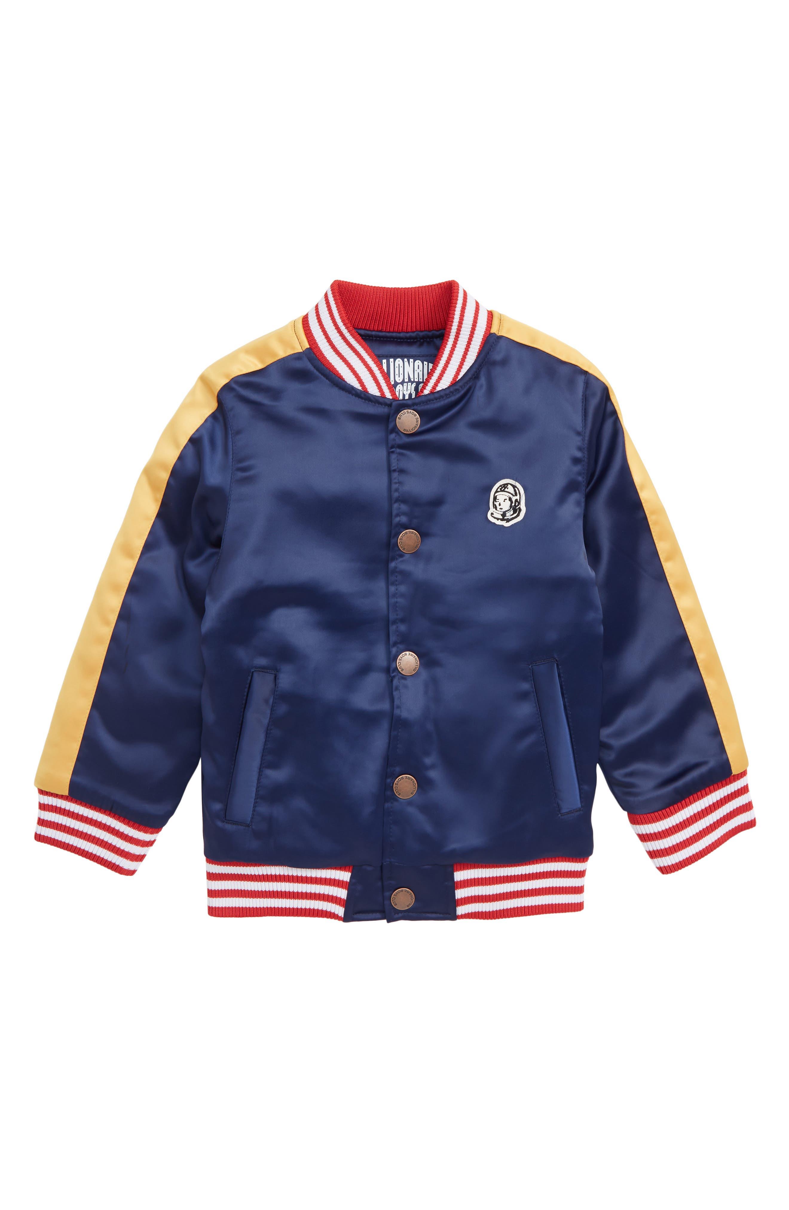 Boys Billionaire Boys Club Souvenir Satin Baseball Jacket Size 56  Blue