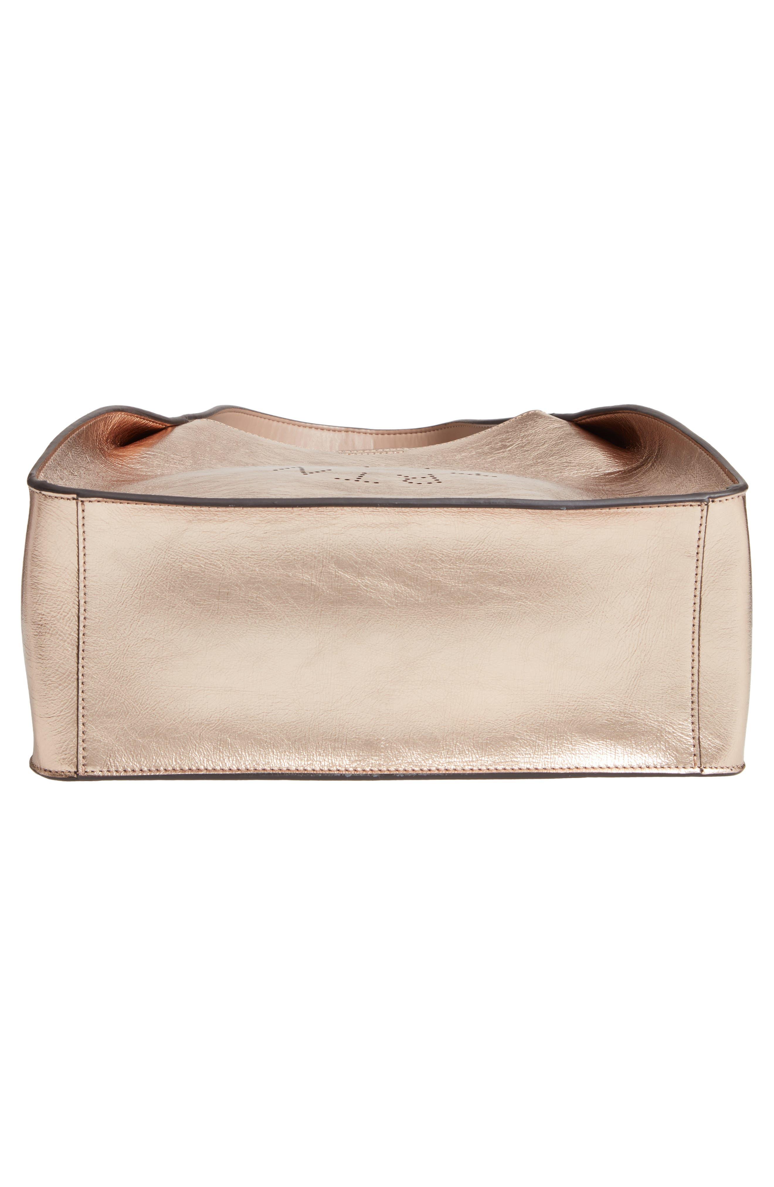 STELLA MCCARTNEY, Perforated Logo Metallic Faux Leather Satchel, Alternate thumbnail 6, color, ROSE GOLD