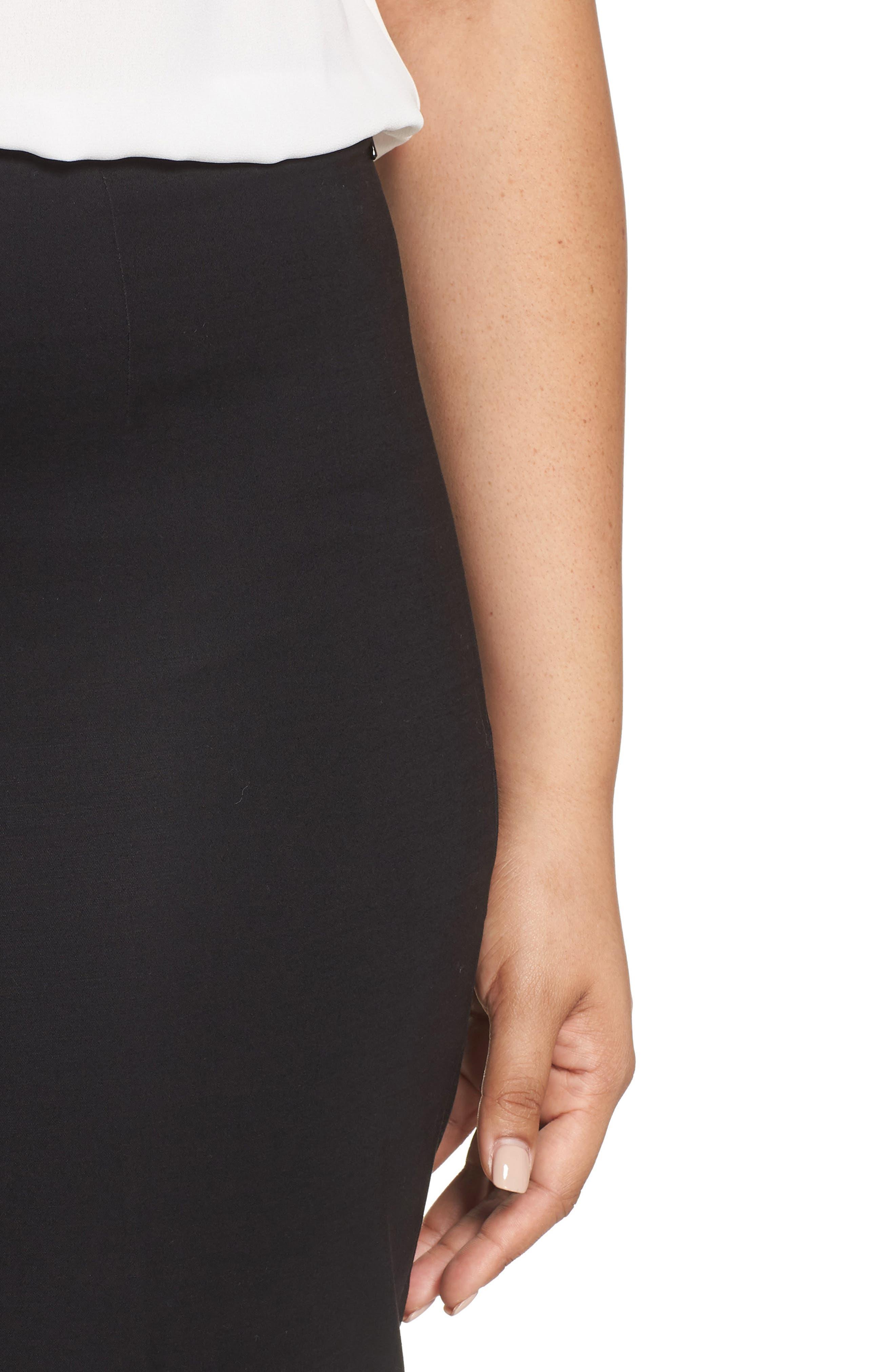 NIC+ZOE, 'Perfect' Side Zip Pants, Alternate thumbnail 4, color, BLACK ONYX