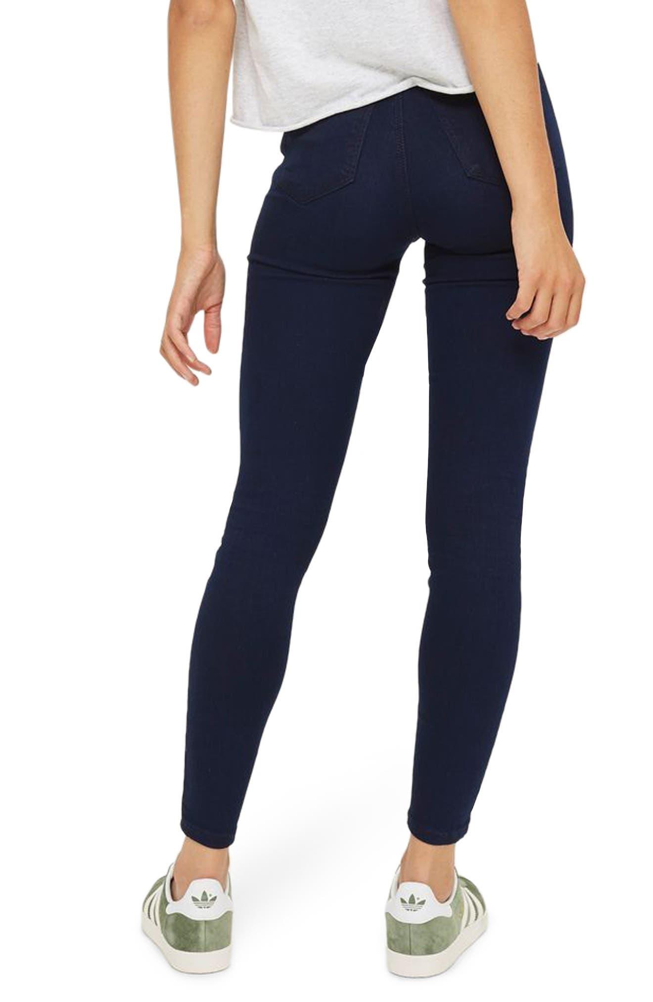 TOPSHOP, Joni High Waist Skinny Jeans, Alternate thumbnail 2, color, DARK INDIGO