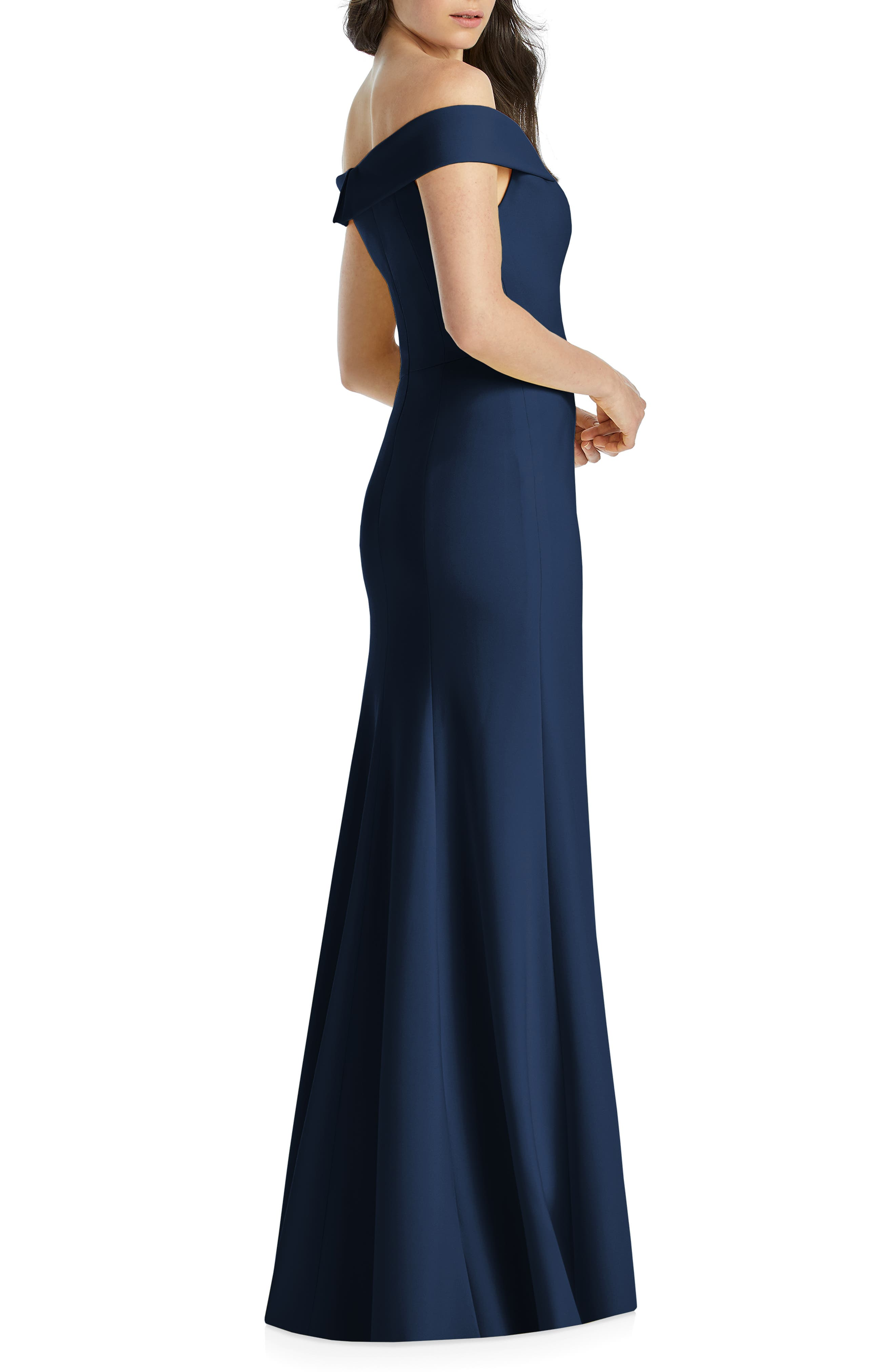 DESSY COLLECTION, Notched Off the Shoulder Crepe Gown, Alternate thumbnail 2, color, MIDNIGHT