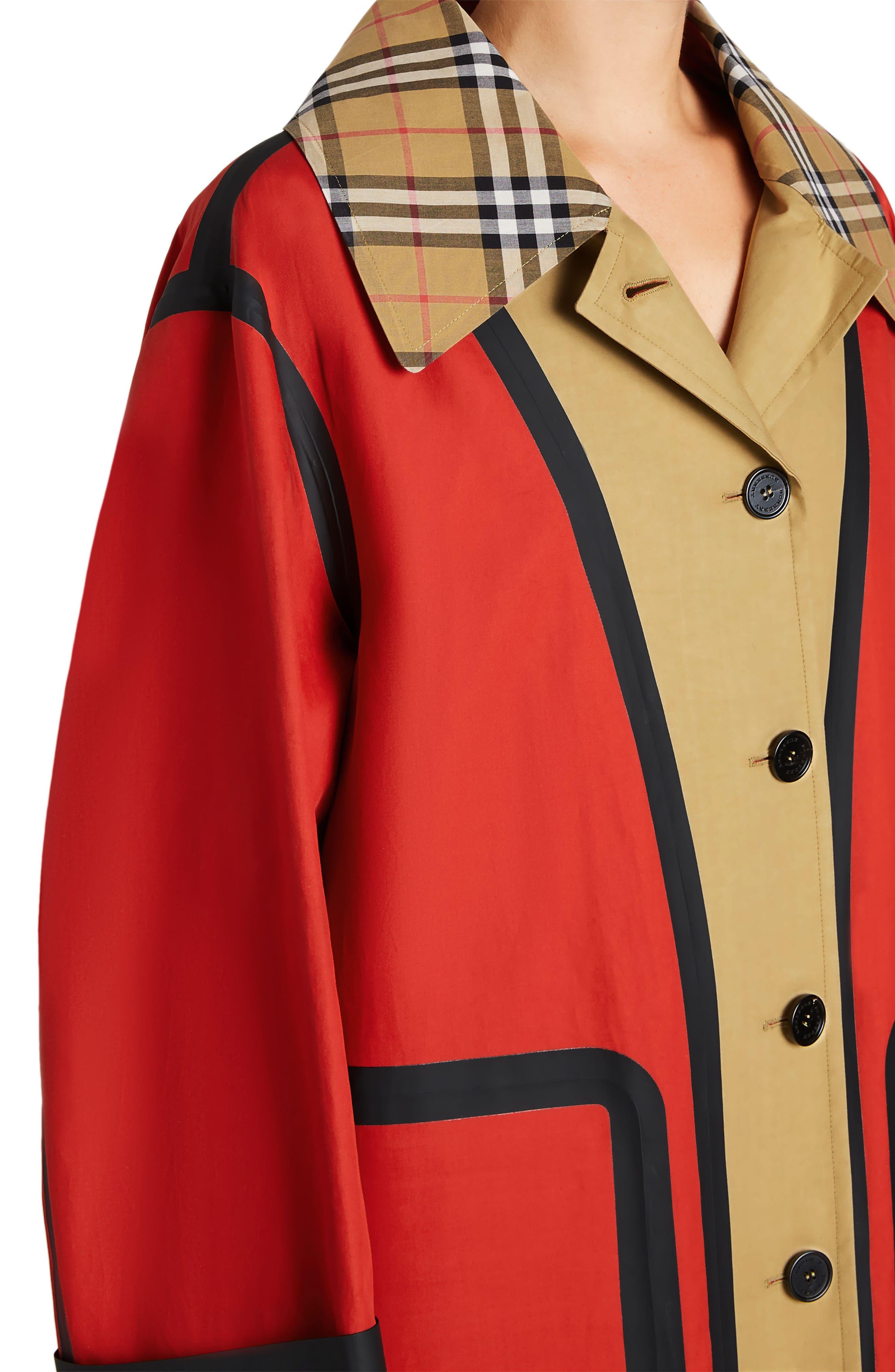 BURBERRY, Colorblock Cotton Car Coat, Alternate thumbnail 4, color, 600