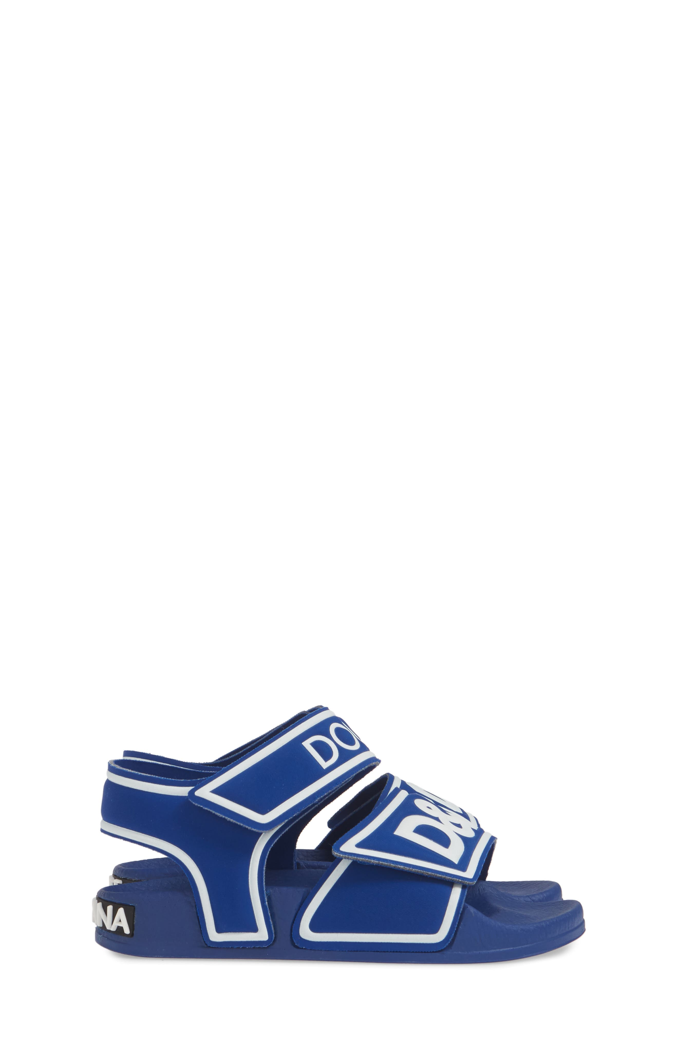 DOLCE&GABBANA, Jelly Fisherman Sandal, Alternate thumbnail 4, color, BLUE/ WHITE